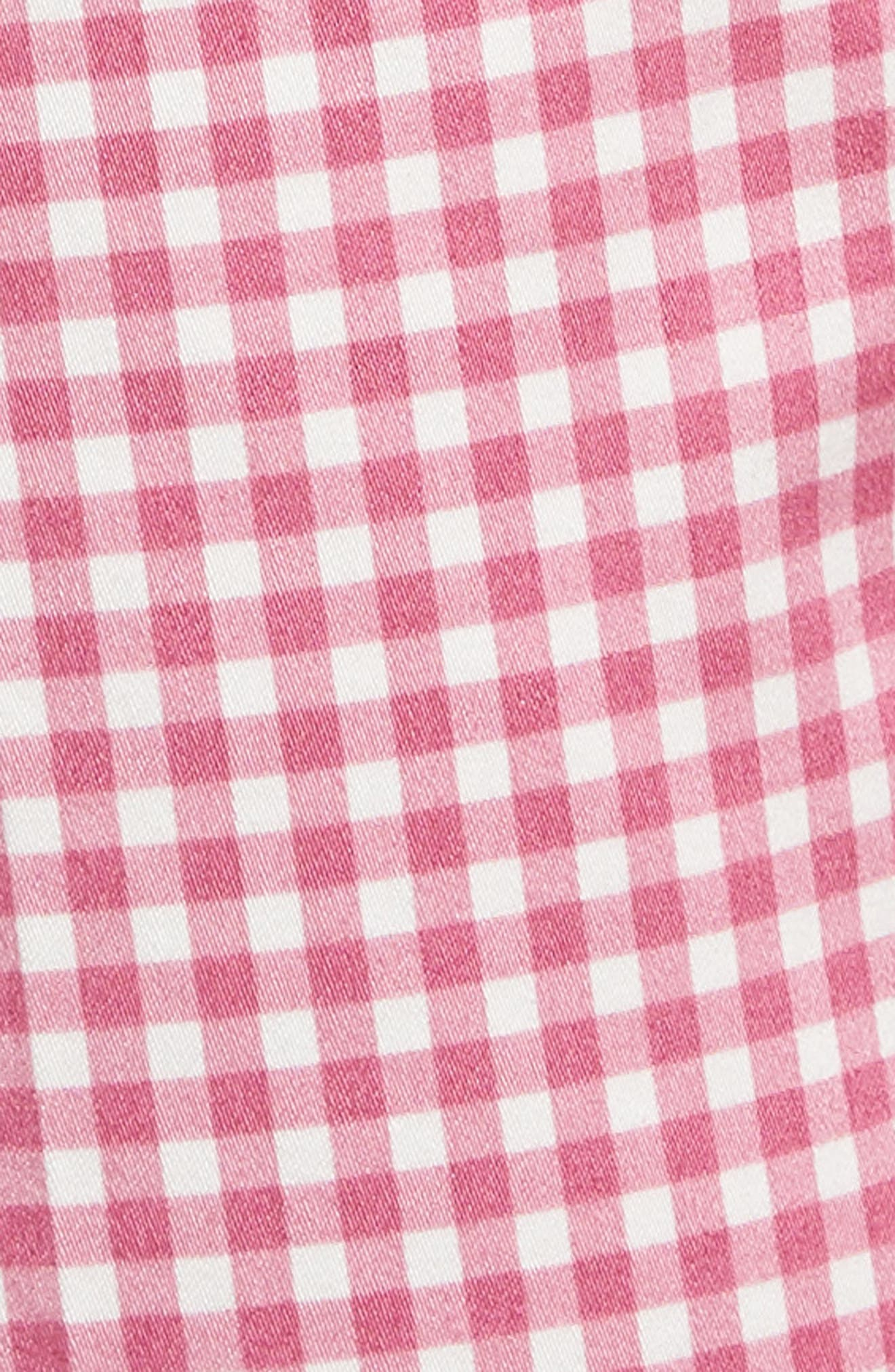 Maron Gingham Stretch Cotton Pants,                             Alternate thumbnail 5, color,