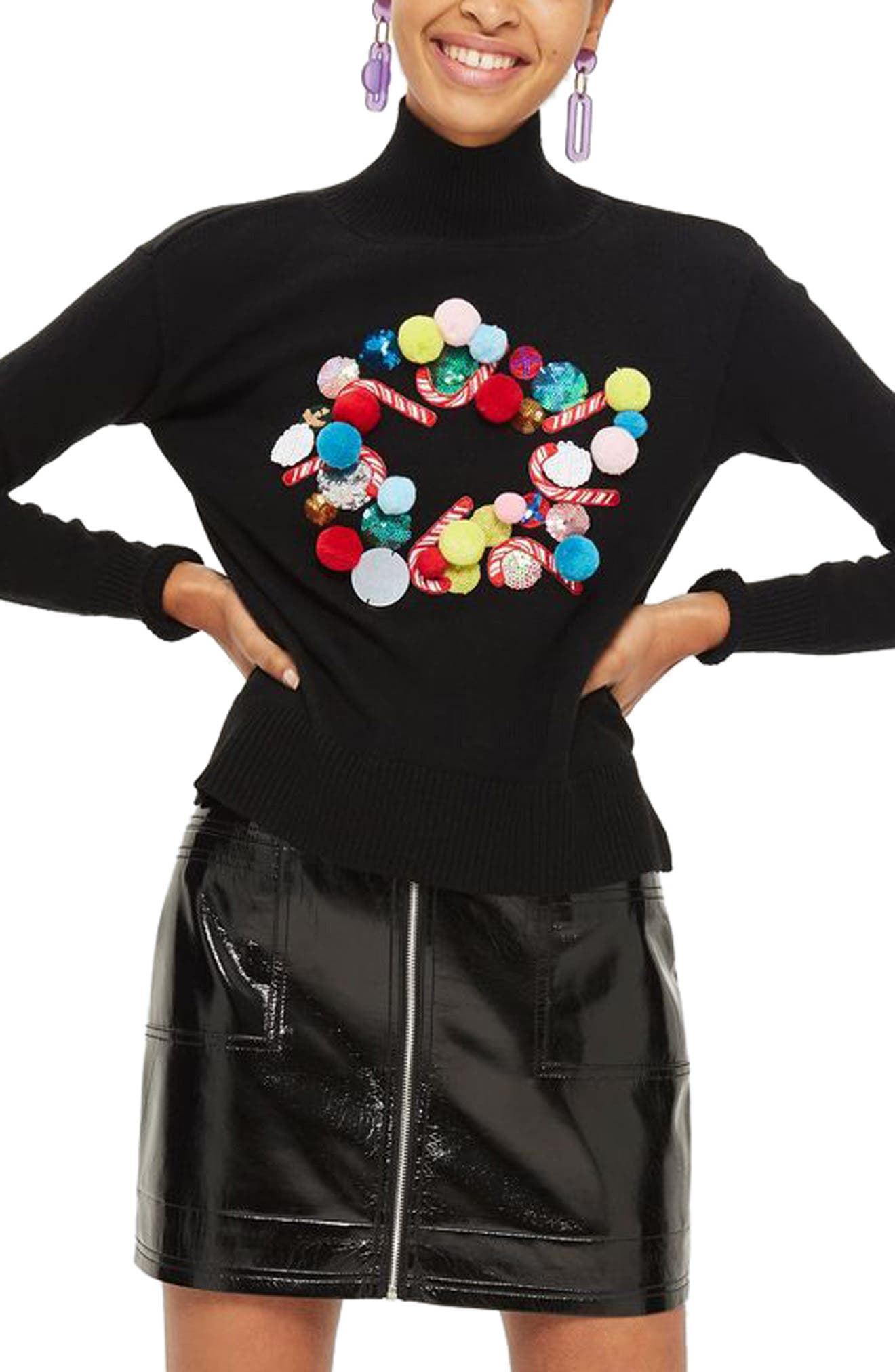 Christmas Wreath Funnel Neck Sweater,                             Main thumbnail 1, color,                             001