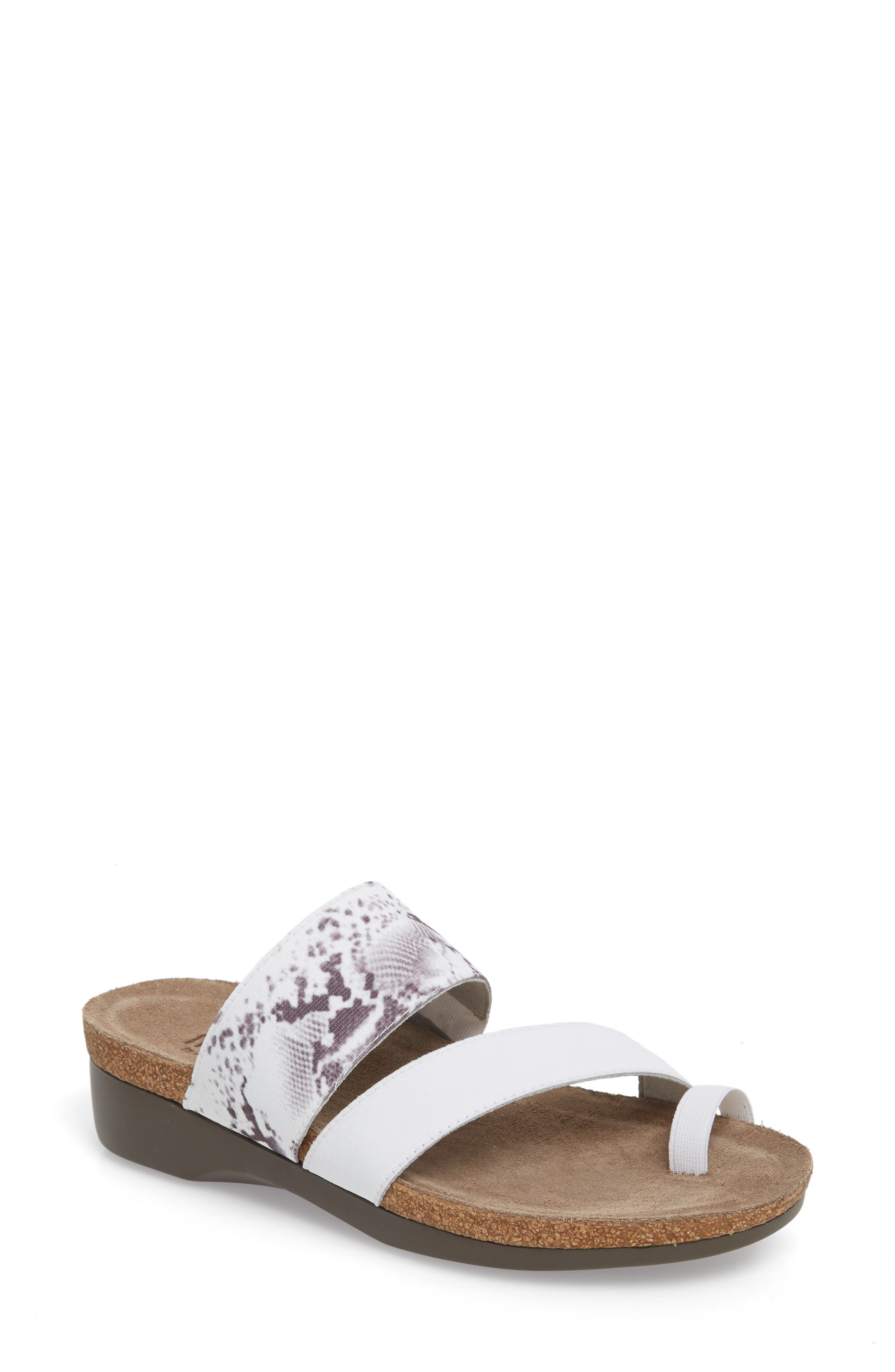 'Aries' Sandal,                         Main,                         color, WHITE SNAKE PRINT LEATHER