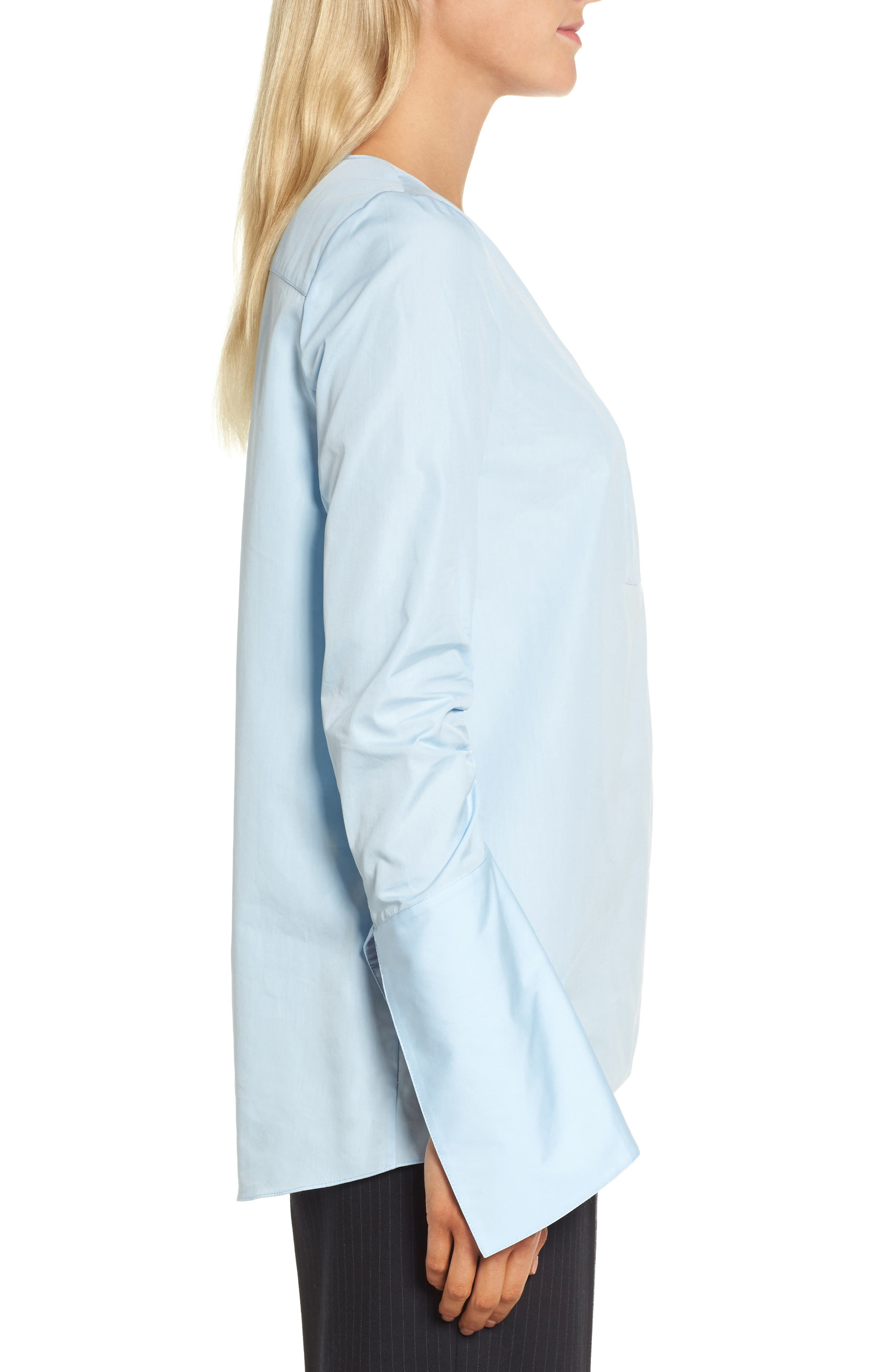Ruched Sleeve Poplin Blouse,                             Alternate thumbnail 3, color,