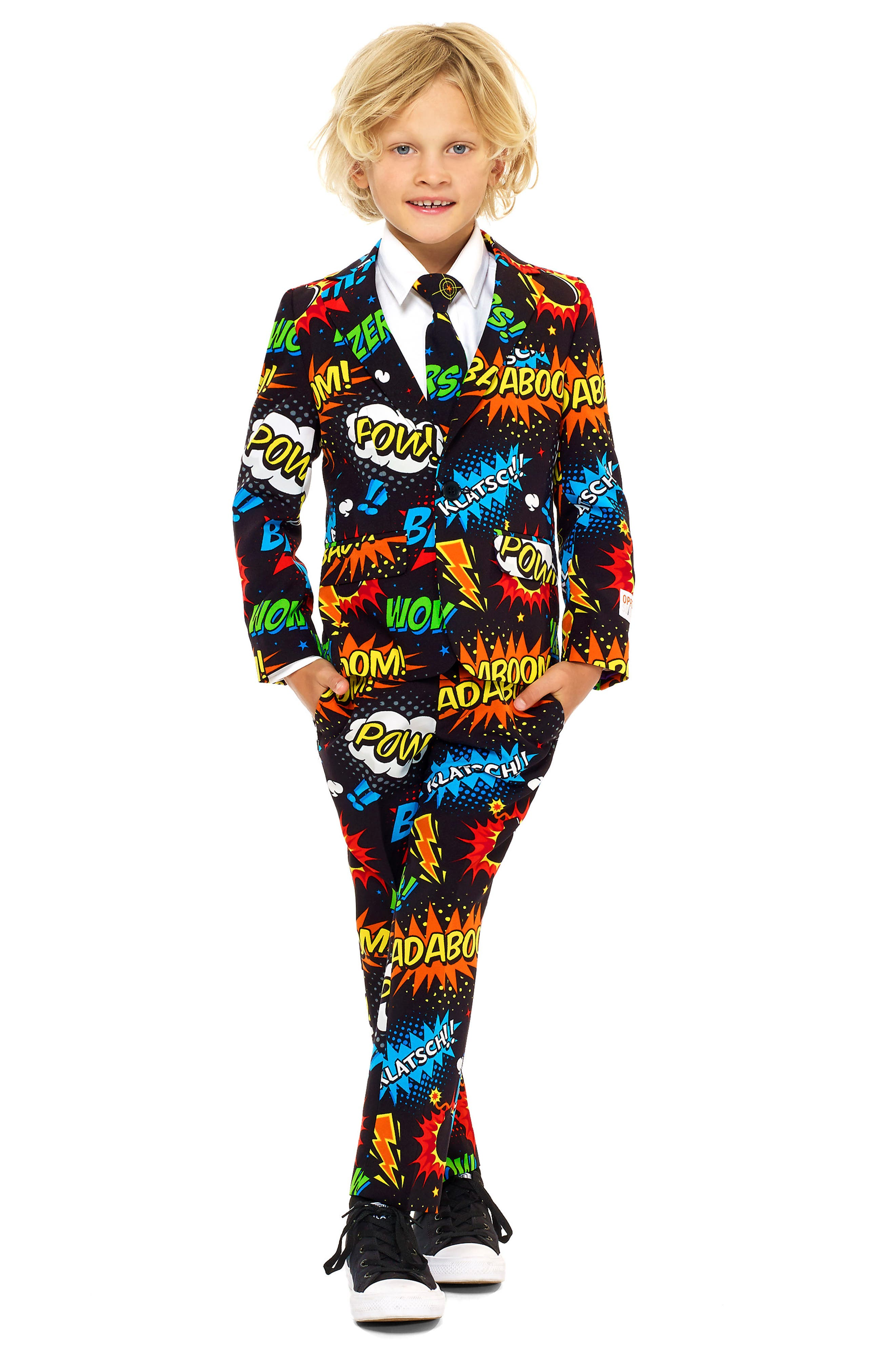 Badaboom Two-Piece Suit with Tie,                             Main thumbnail 1, color,                             MISCELLANEOUS