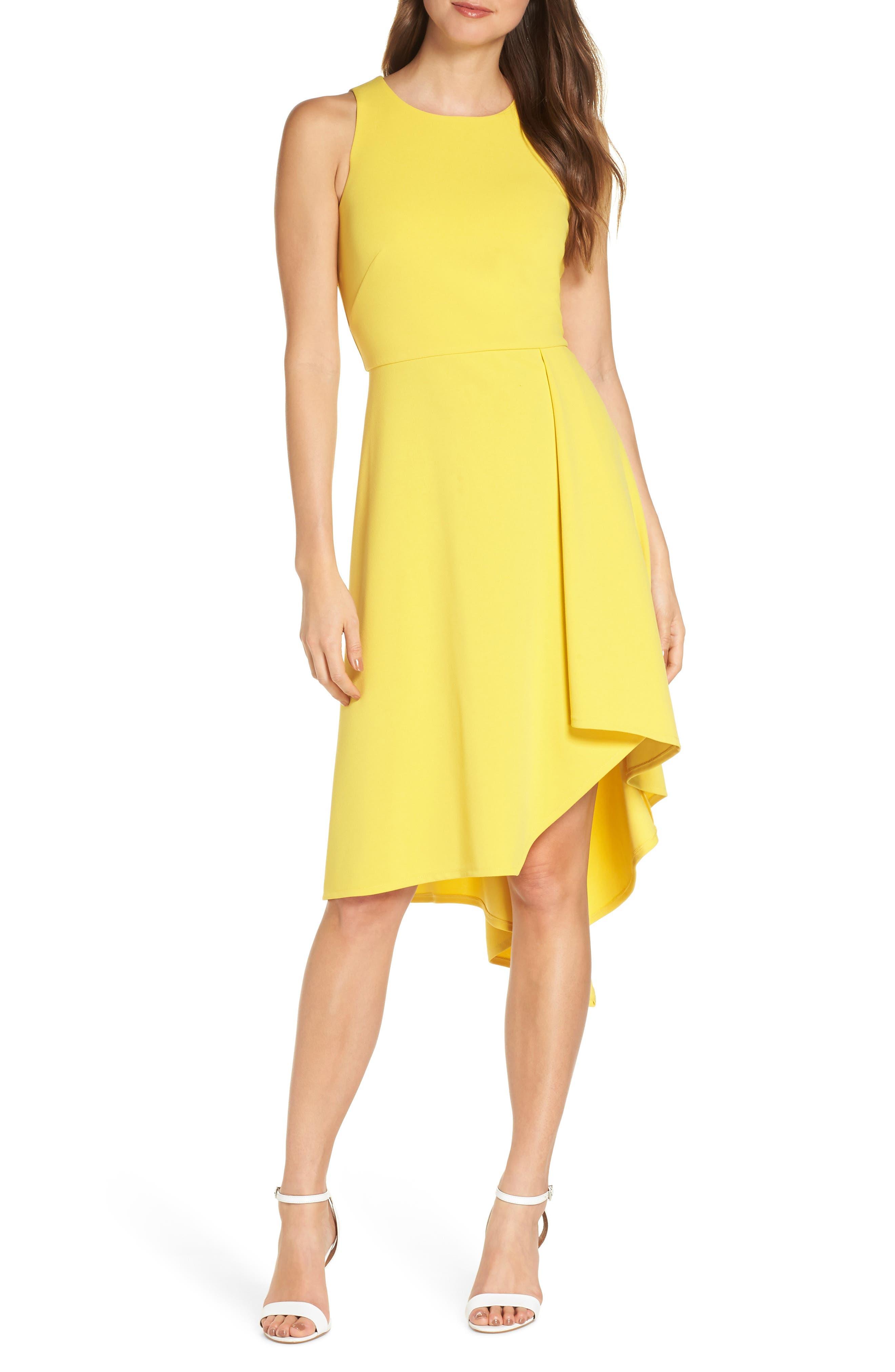 Petite Vince Camuto Asymmetrical Hem Scuba Crepe Dress, Yellow