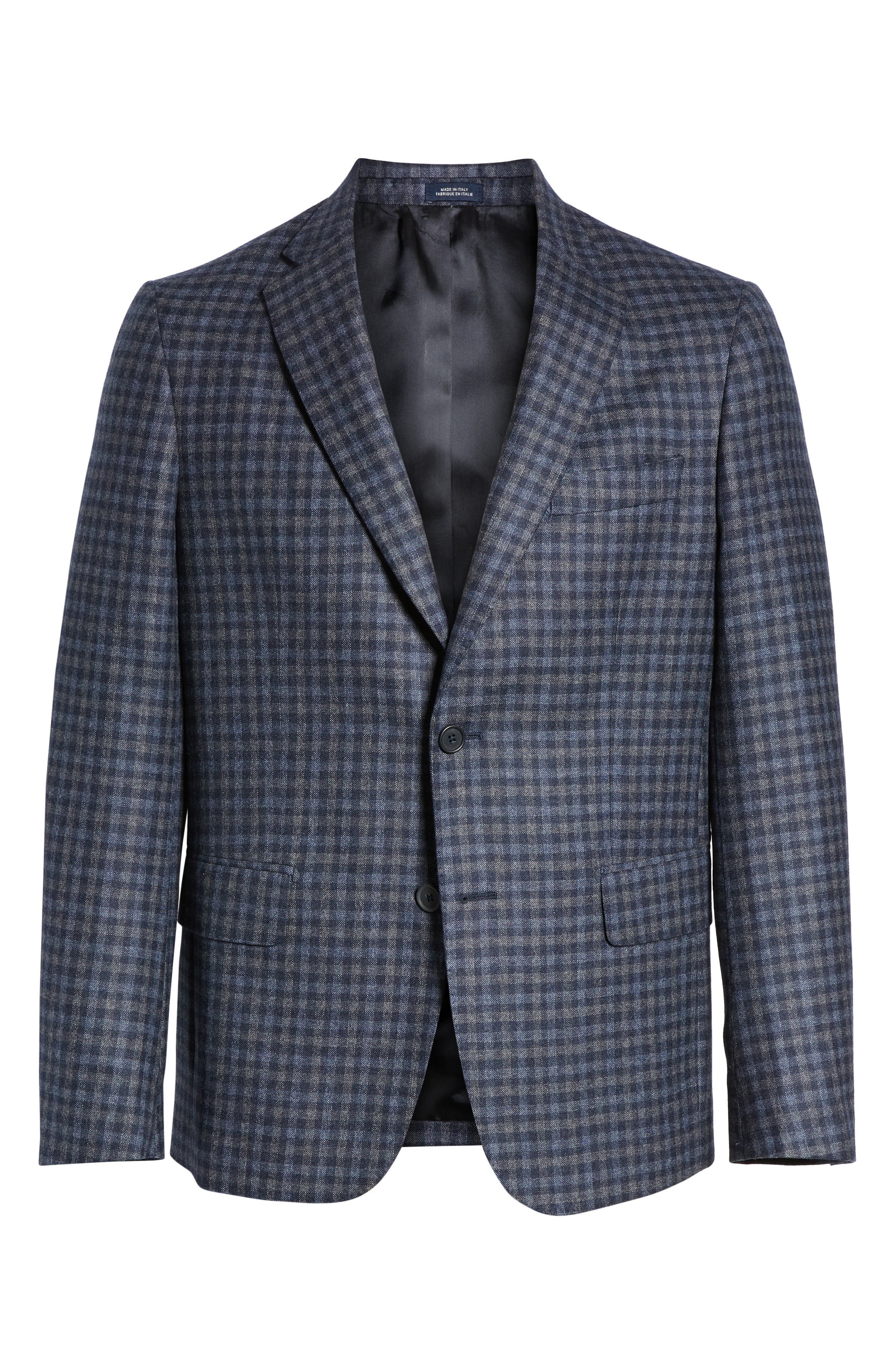 Traditional Fit Check Wool Sport Coat,                             Alternate thumbnail 5, color,                             DENIM BLUE