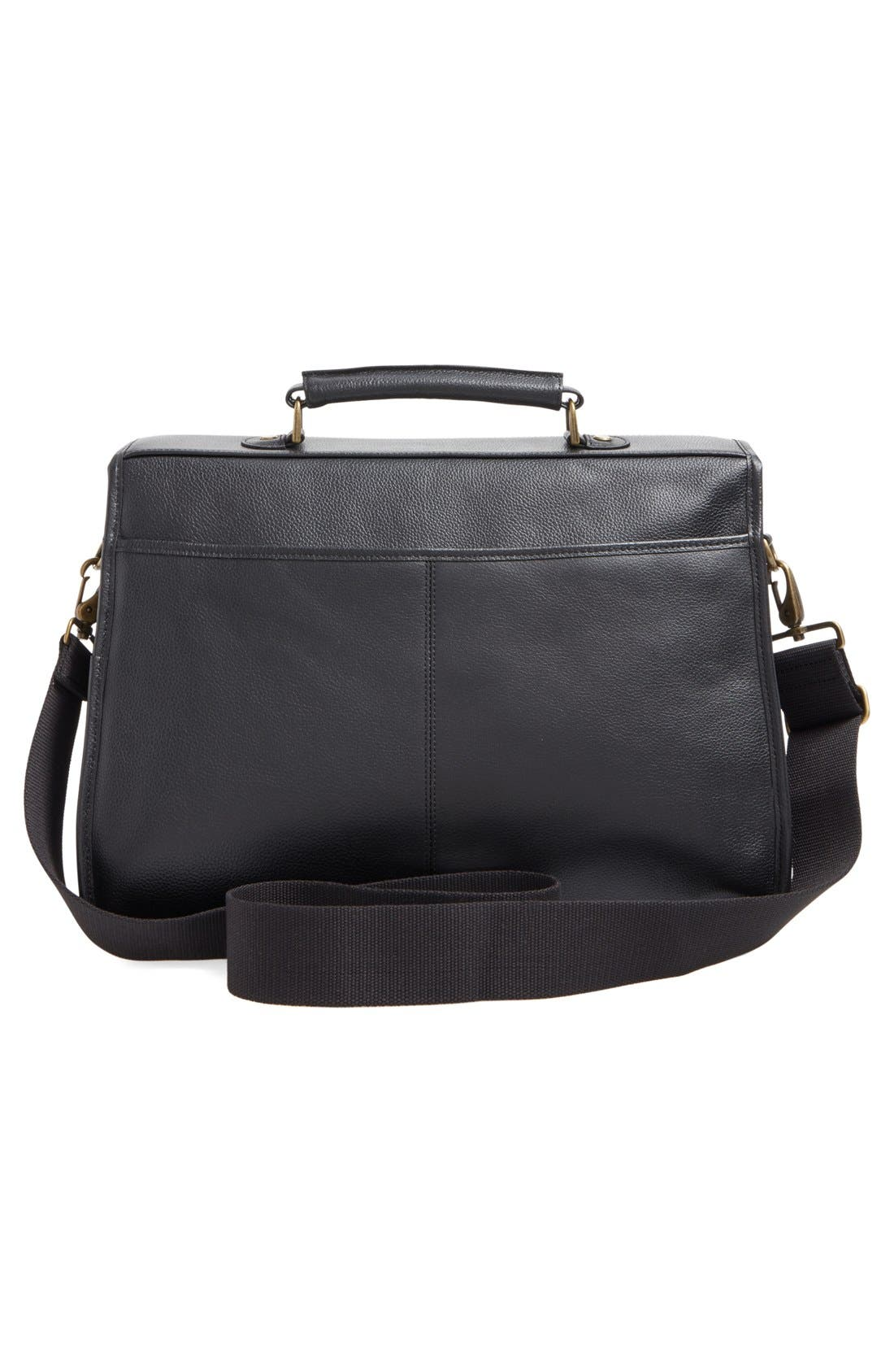 Leather Briefcase,                             Alternate thumbnail 4, color,                             BLACK