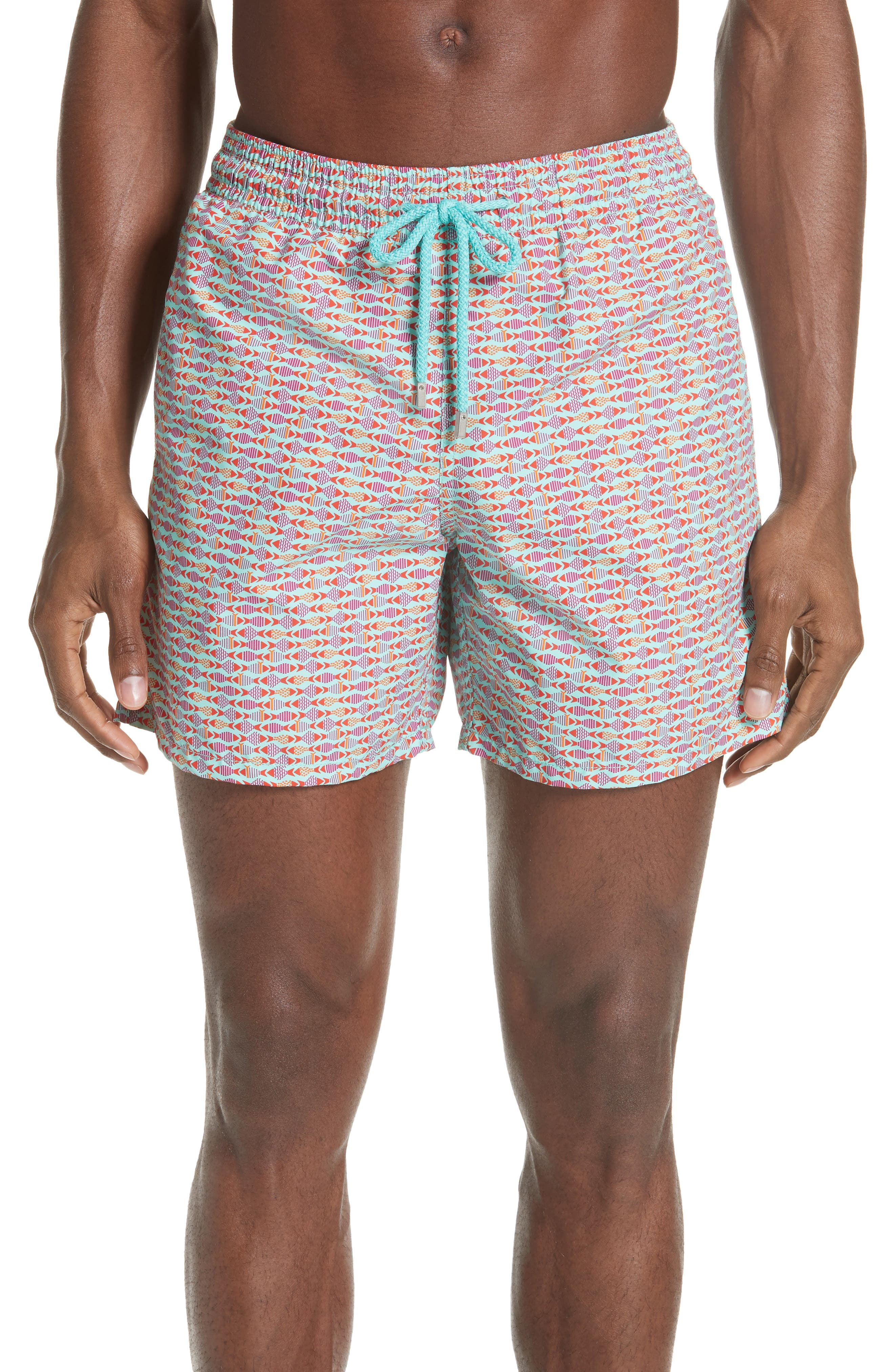 Modernist Fish Print Swim Trunks,                         Main,                         color, LAGOON