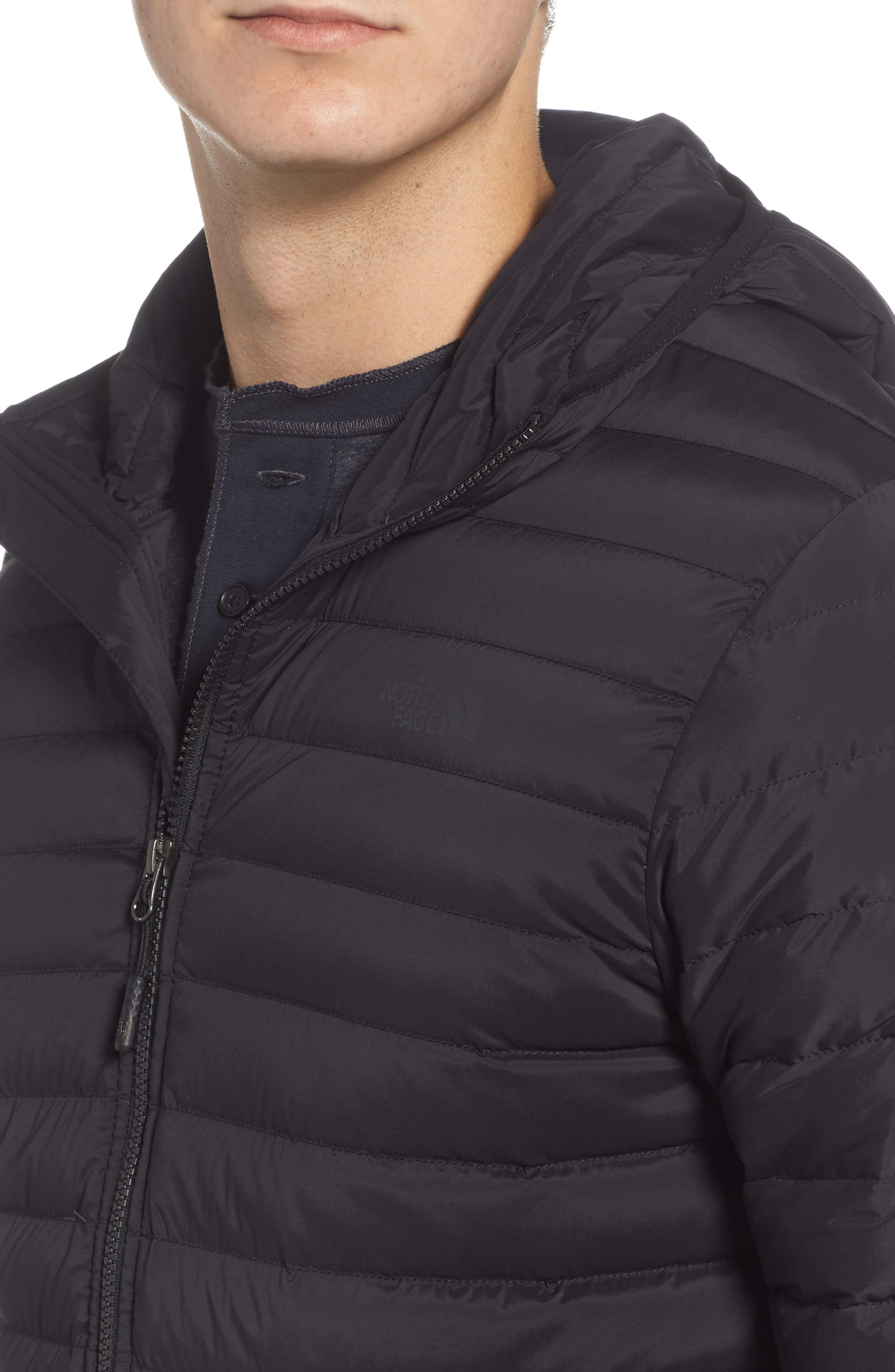 Packable Stretch Down Hooded Jacket,                             Alternate thumbnail 4, color,                             TNF BLACK/ TNF BLACK
