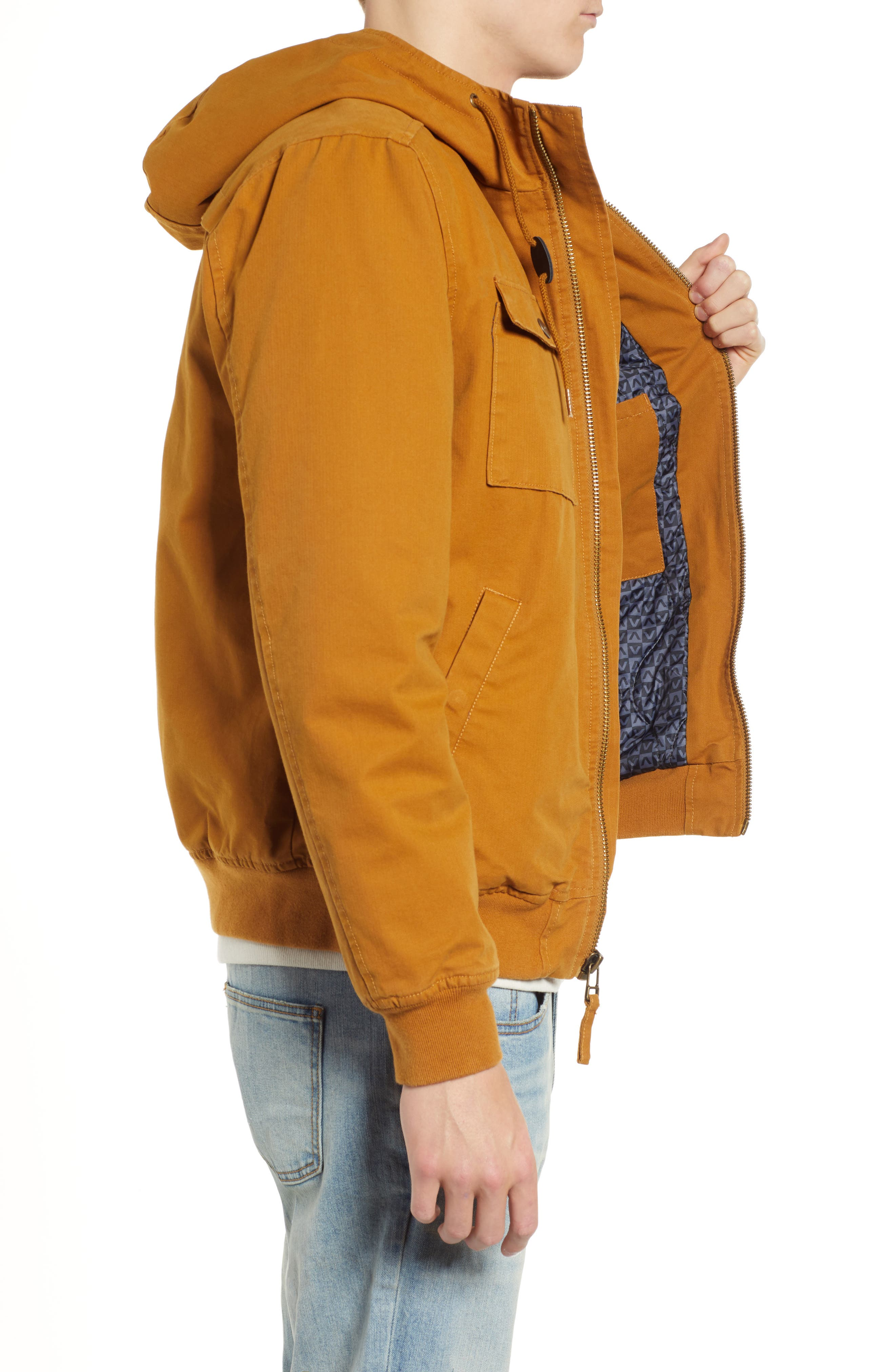 Hooded Bomber Jacket,                             Alternate thumbnail 3, color,                             BRONZE