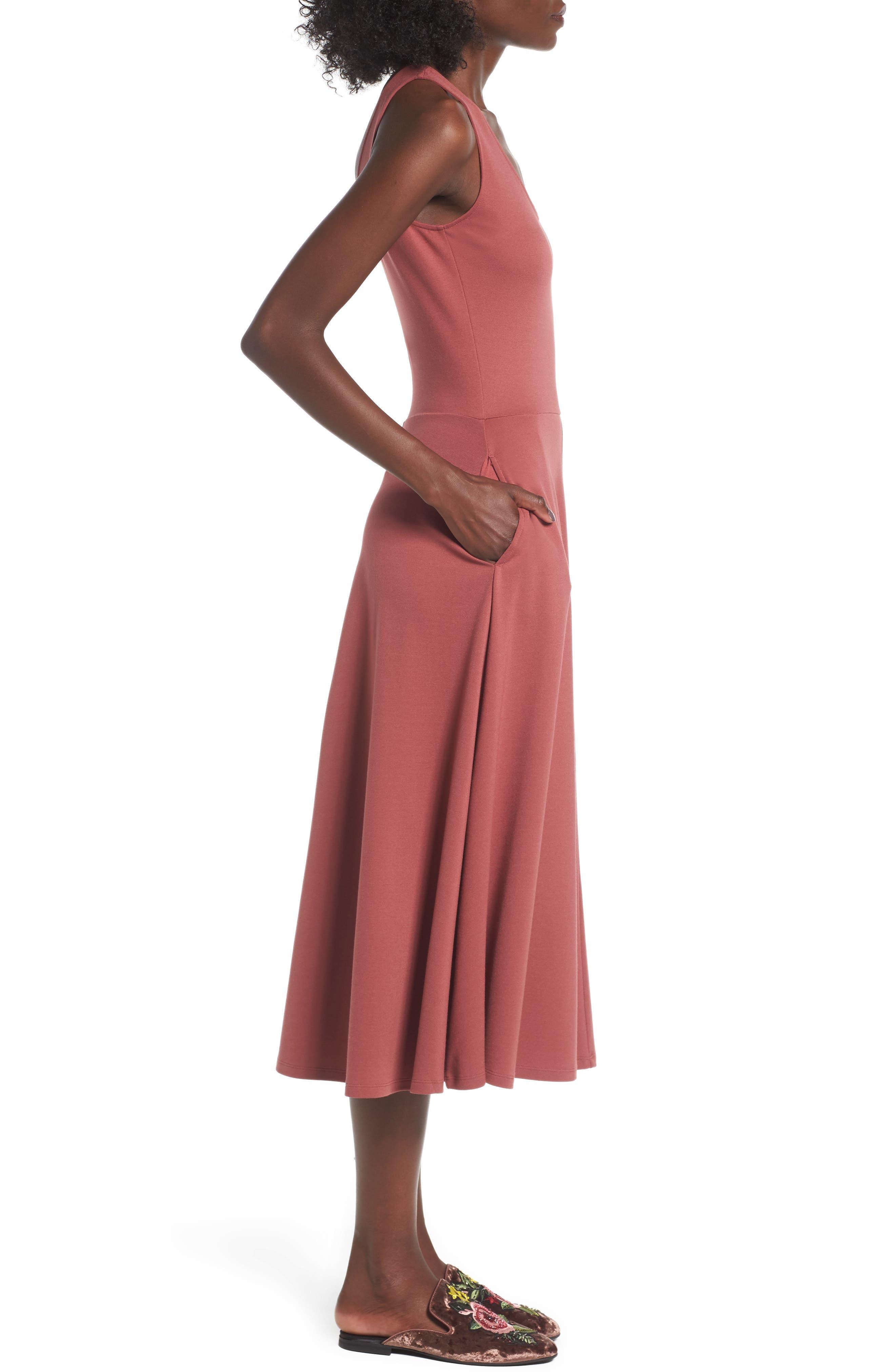 Stretch Knit Midi Dress,                             Alternate thumbnail 30, color,