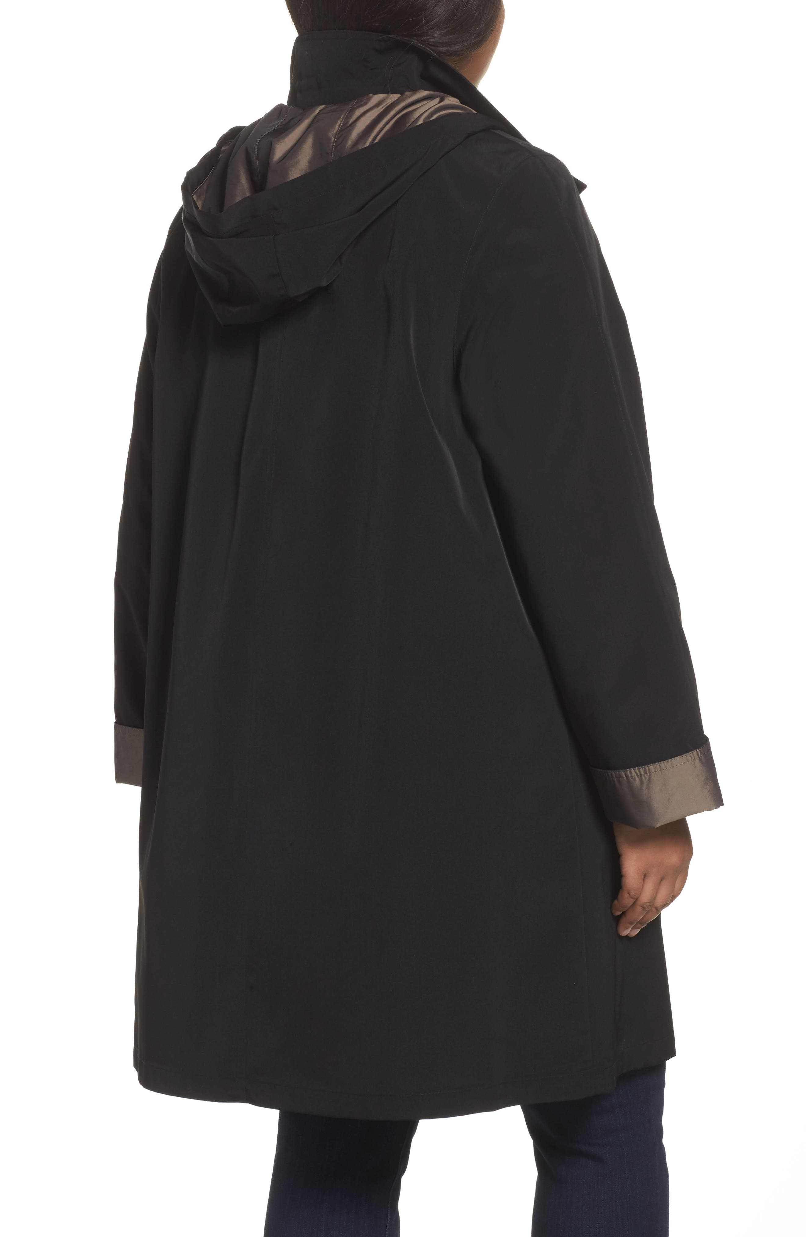 Two-Tone Long Silk Look Raincoat,                             Alternate thumbnail 2, color,                             BLACK