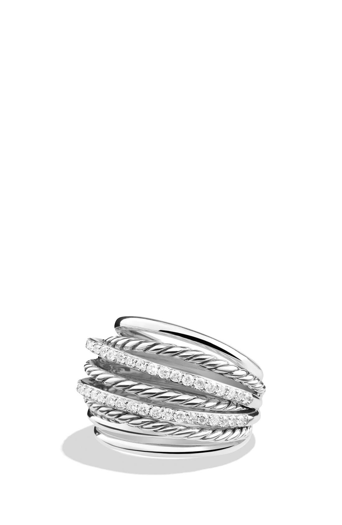 'Crossover' Dome Ring with Diamonds,                             Main thumbnail 1, color,                             DIAMOND