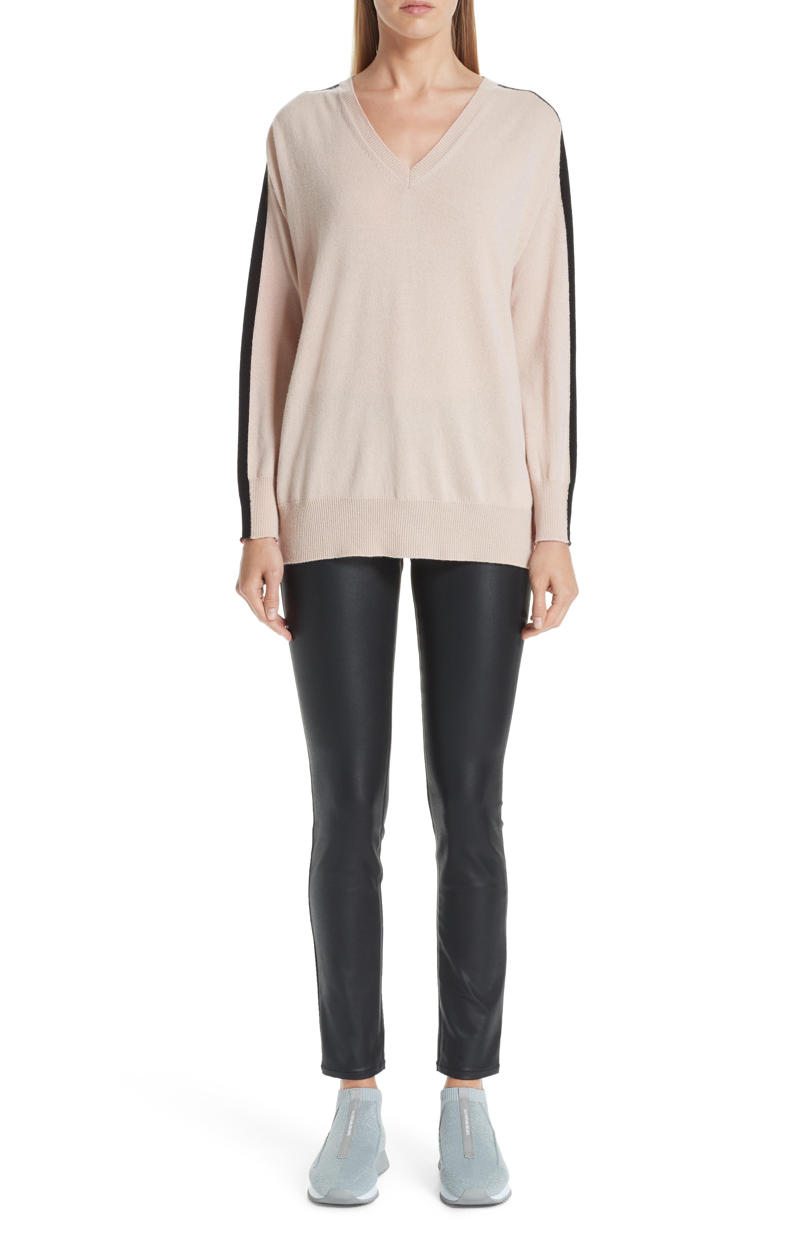 Stripe V-Neck Cashmere Sweater,                             Alternate thumbnail 7, color,                             ROSA NATURALE