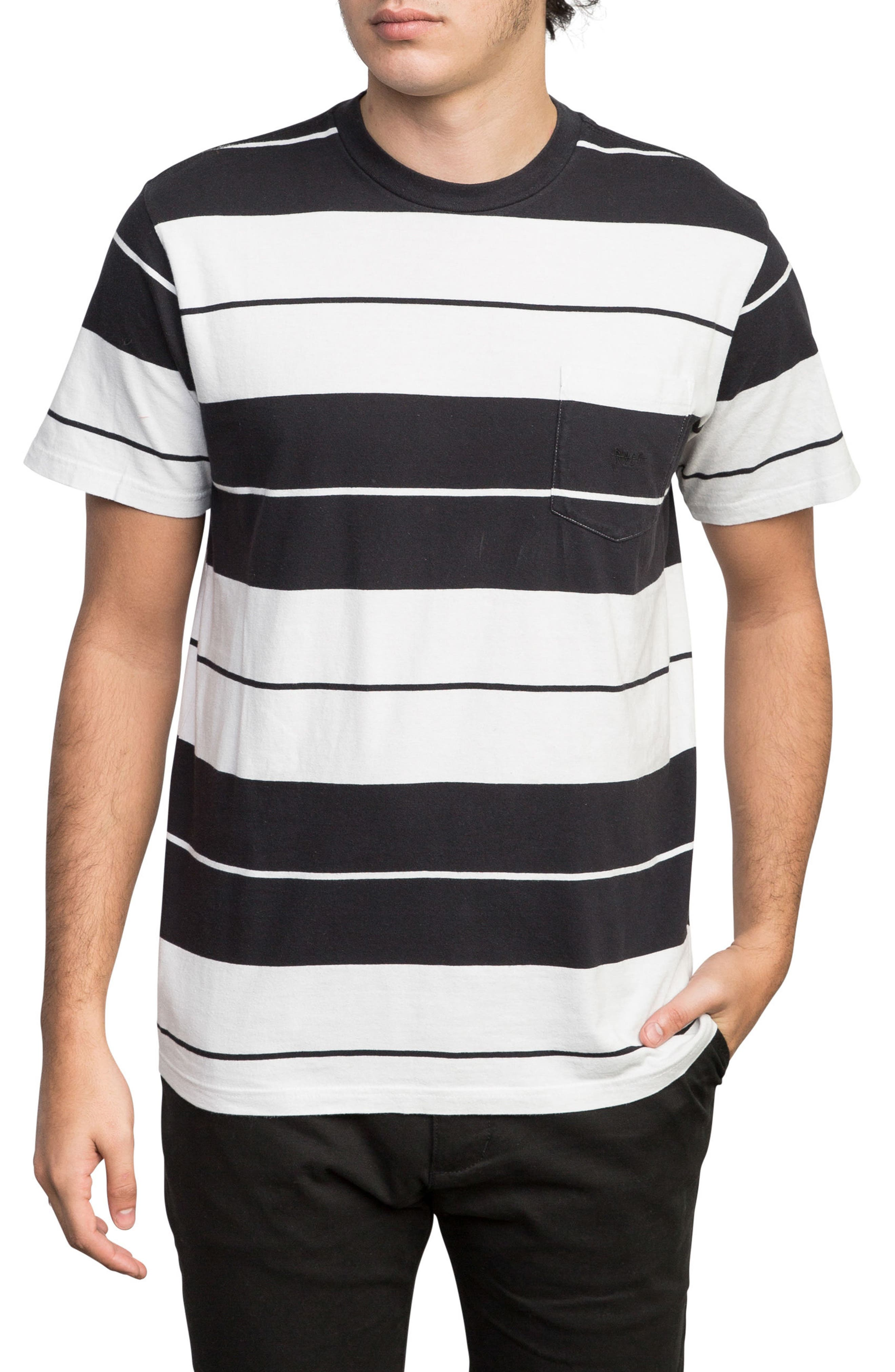 Ellis Stripe Pocket T-Shirt,                         Main,                         color, BLACK