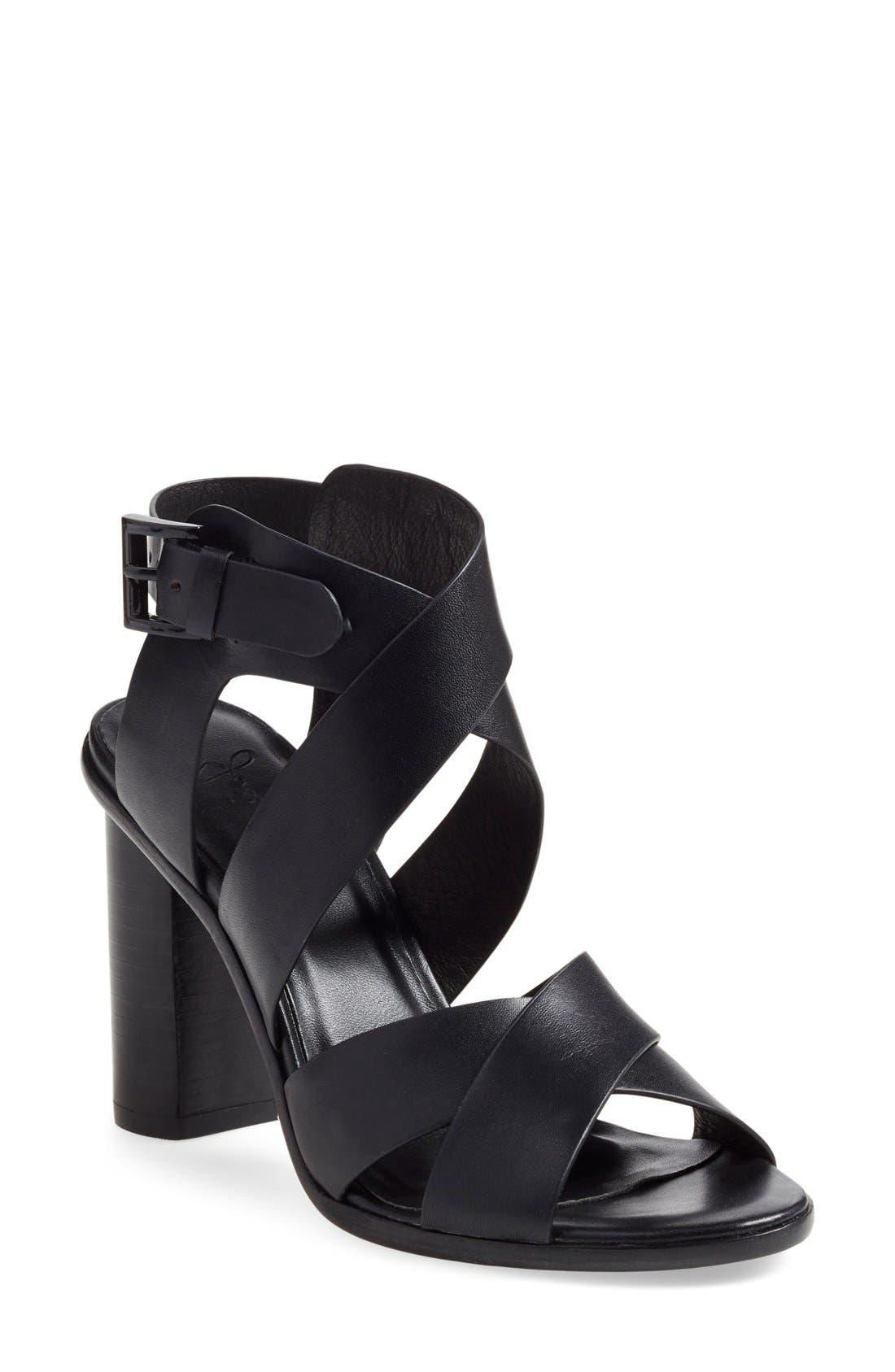 'Avery' Crisscross Block Heel Sandal,                             Main thumbnail 1, color,                             002