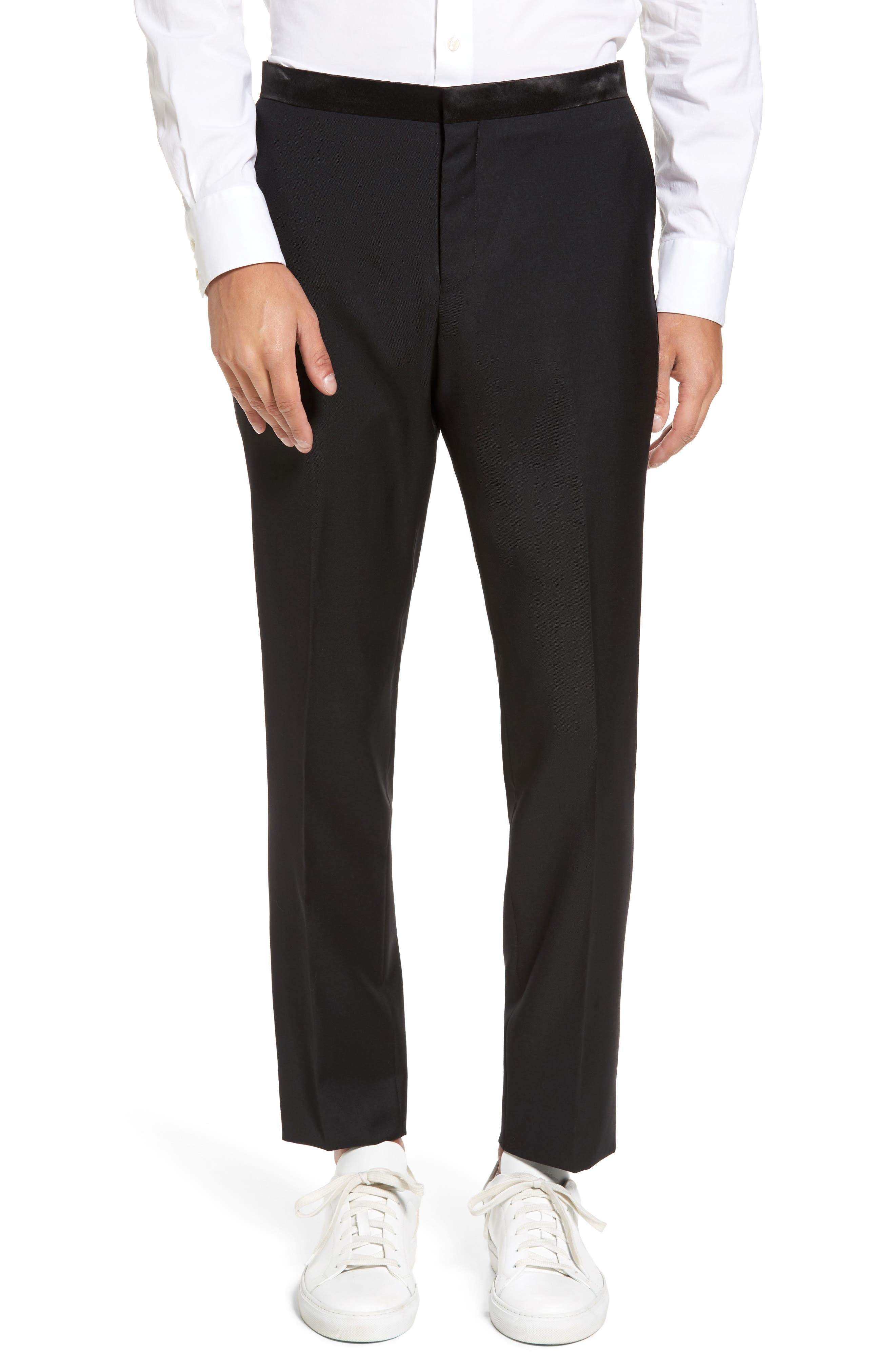 Trim Fit Wool Blend Tuxedo,                             Alternate thumbnail 6, color,                             BLACK