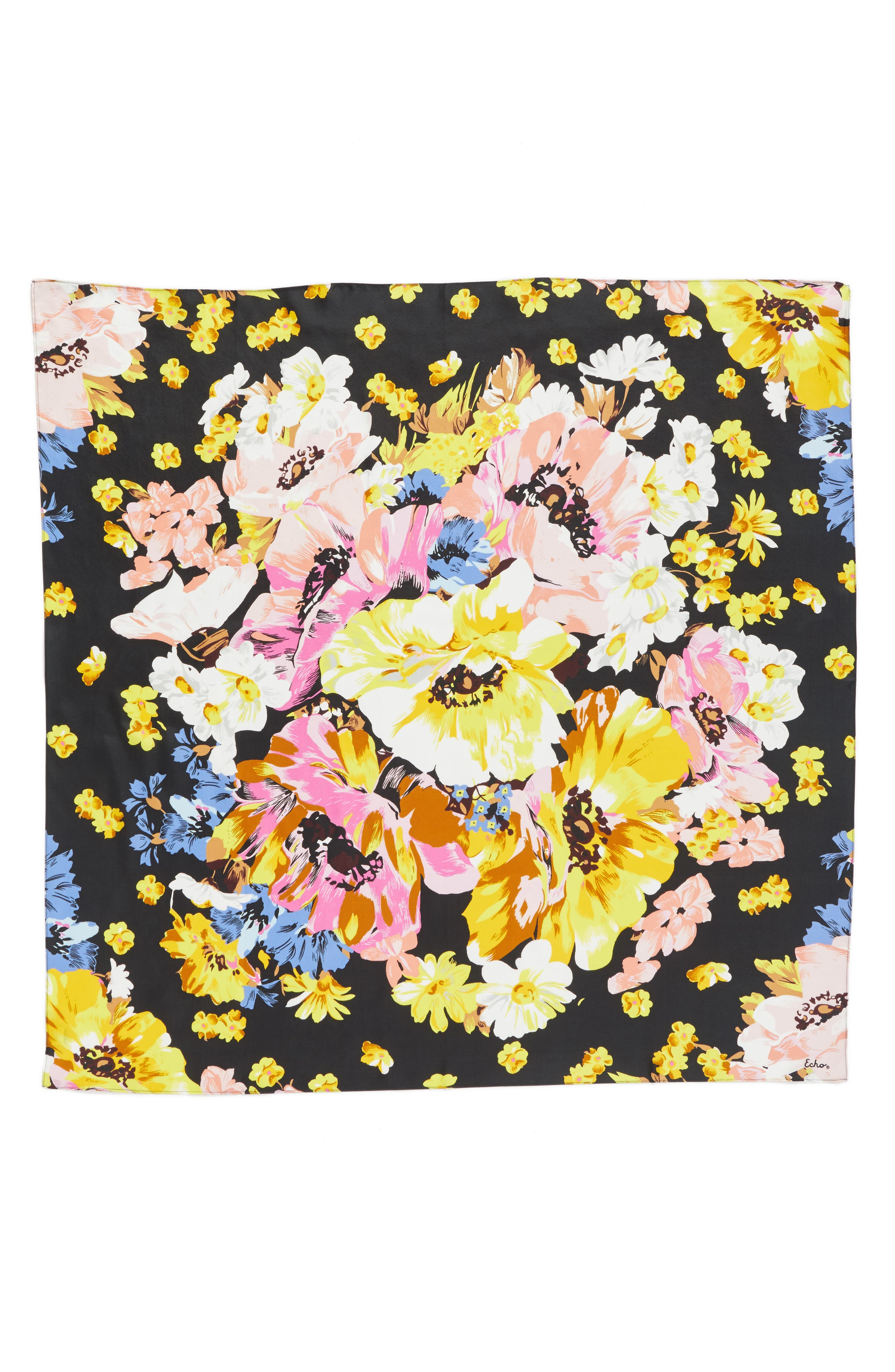 Floral Silk Square Scarf,                             Main thumbnail 1, color,                             001