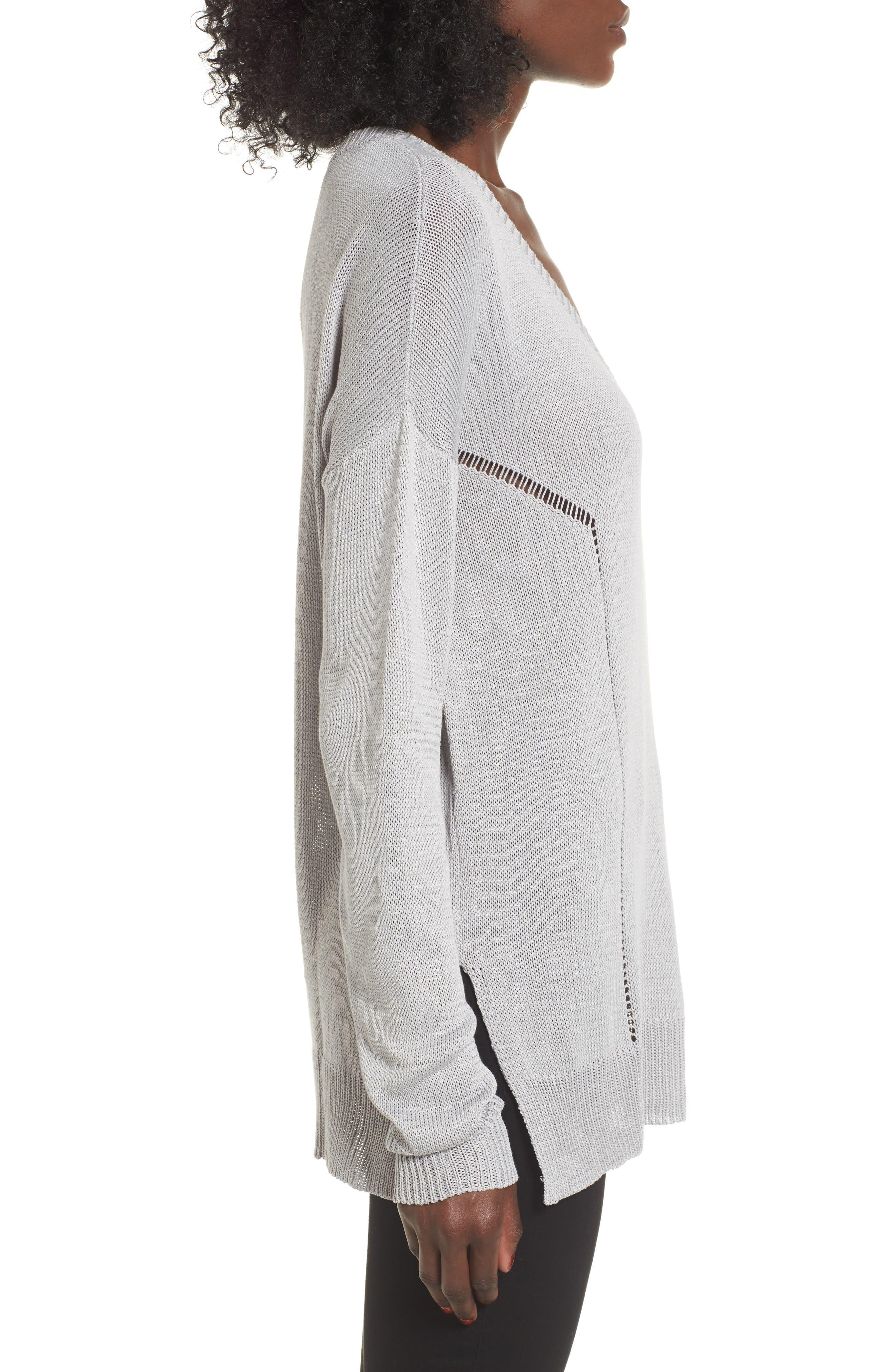 Open Lines V-Neck Sweater,                             Alternate thumbnail 3, color,                             020
