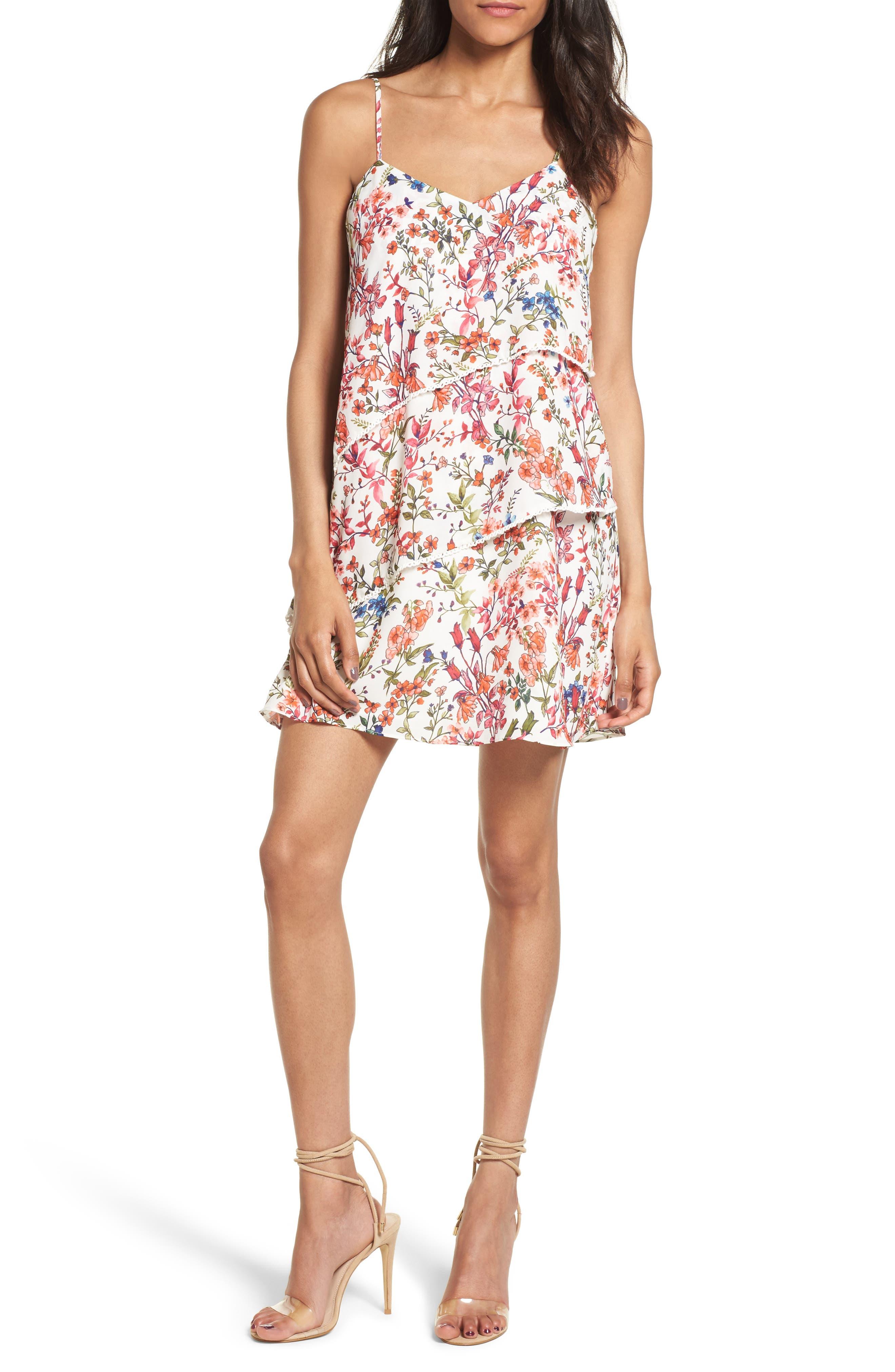 Floral Print Minidress,                         Main,                         color, 152