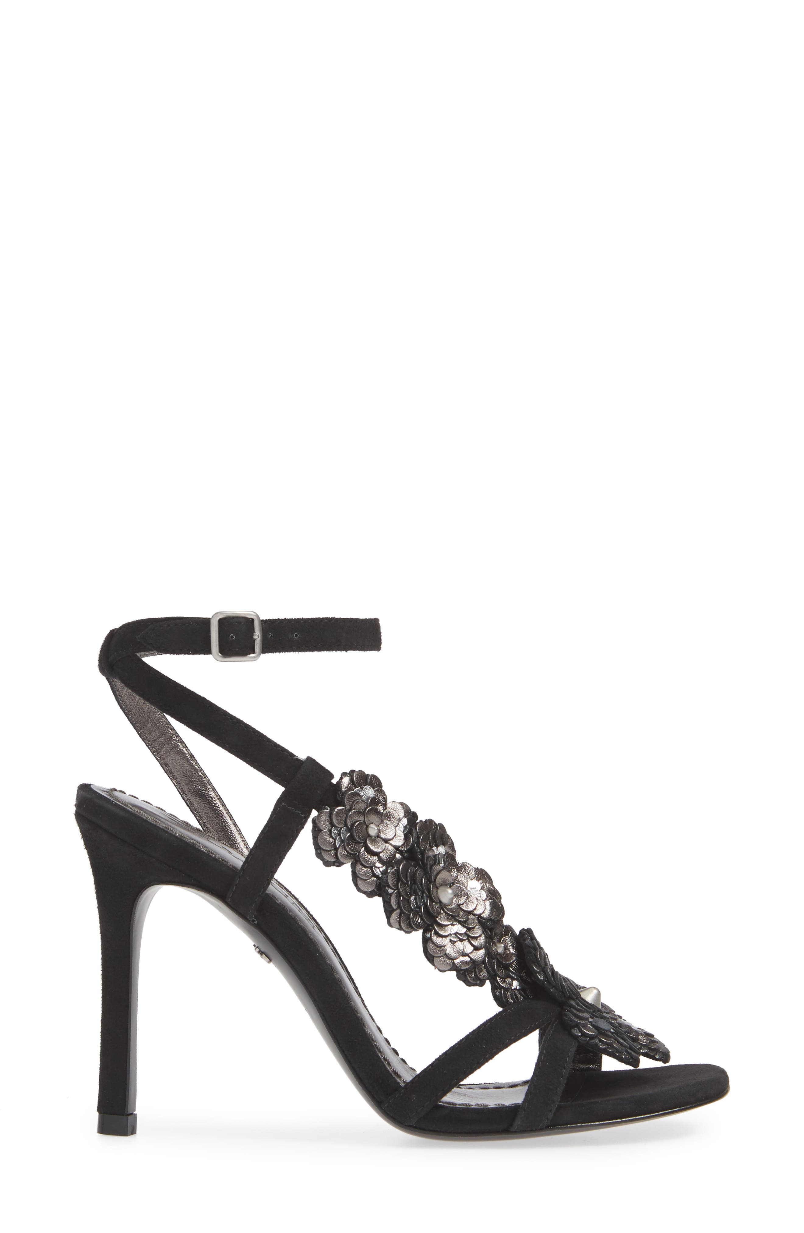 Bianca Floral Asymmetric Strap Sandal,                             Alternate thumbnail 3, color,                             BLACK LEATHER