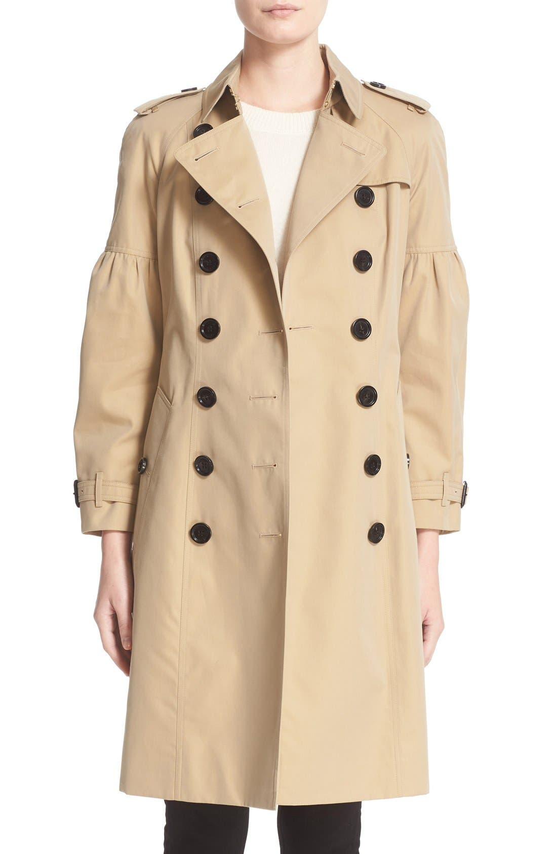 BURBERRY,                             Redhill Puff Sleeve Cotton Trench,                             Main thumbnail 1, color,                             250