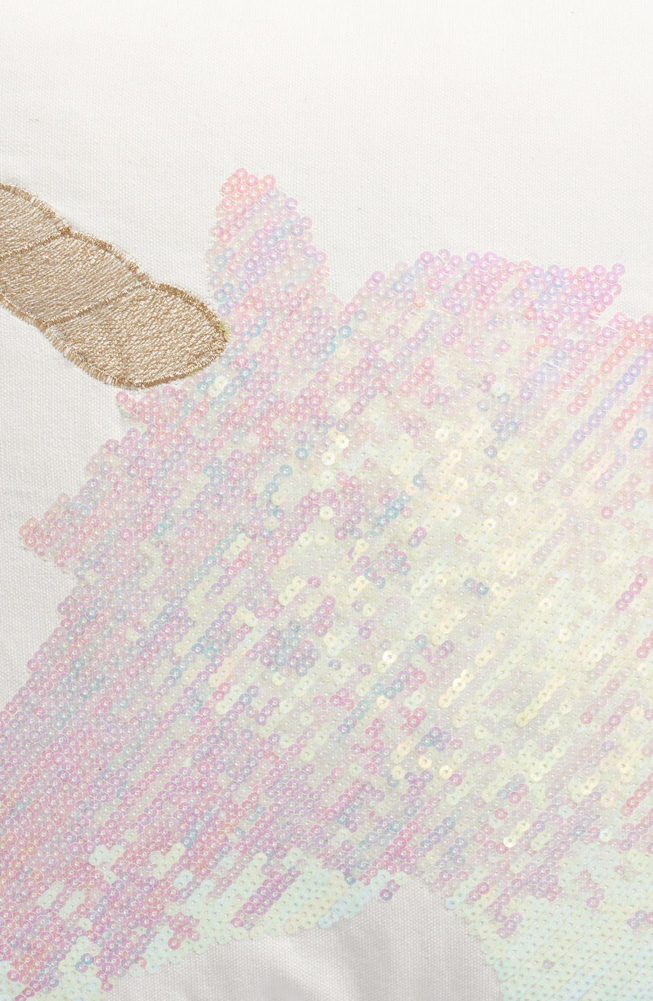 Unicorn Sequin Pillow,                             Alternate thumbnail 3, color,