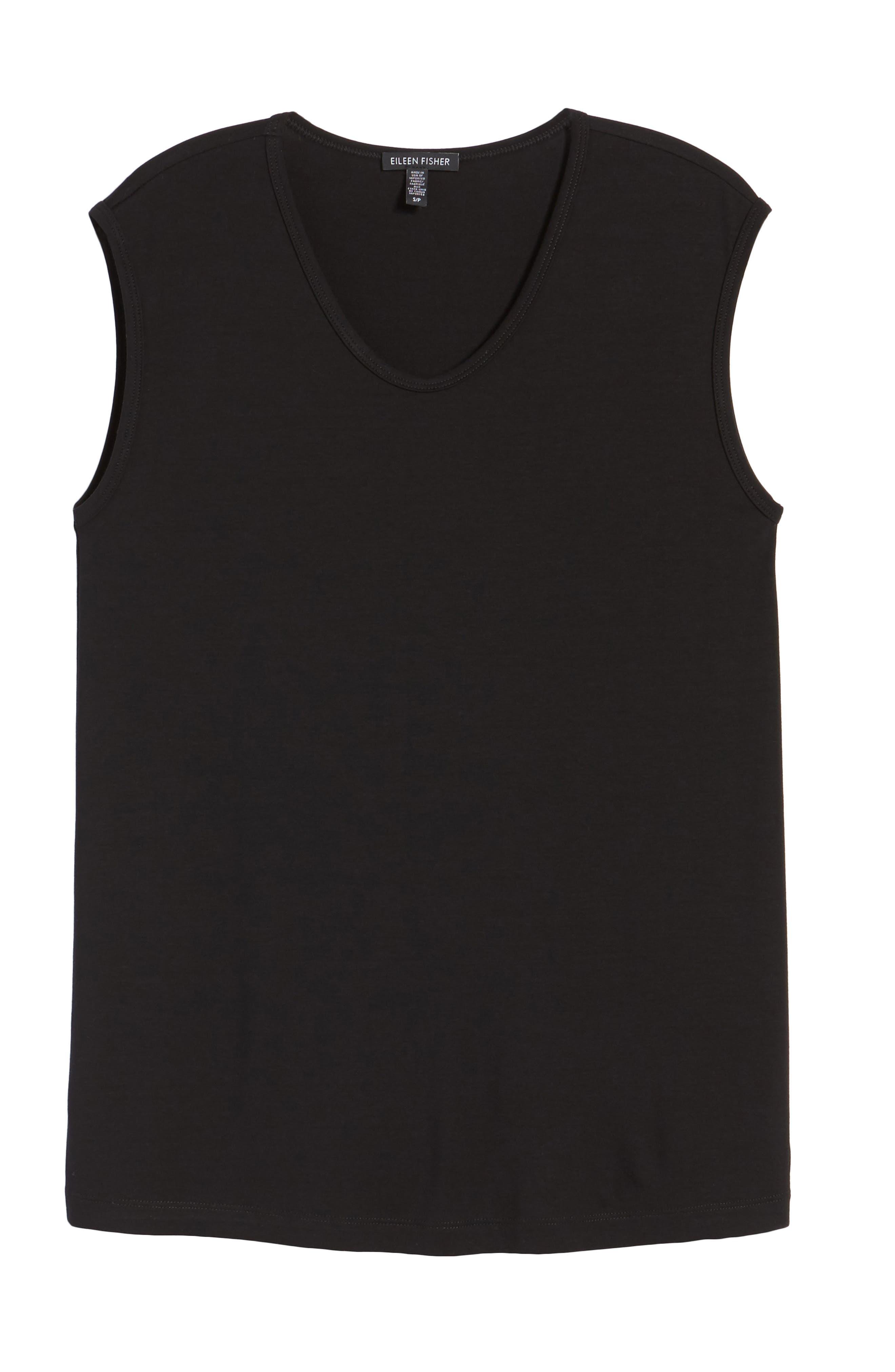 U-Neck Stretch Jersey Tunic,                             Alternate thumbnail 6, color,                             001