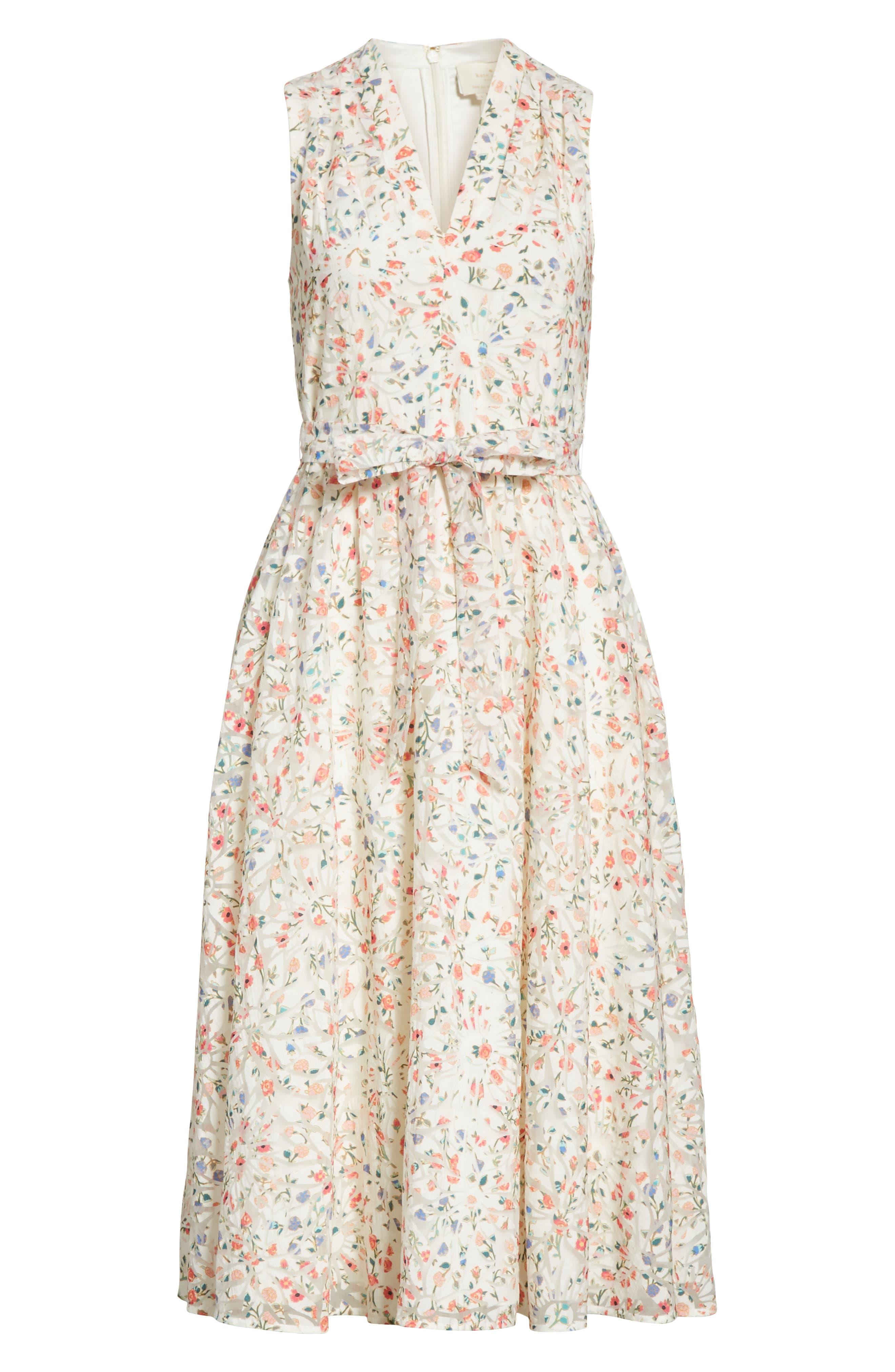 mini bloom burnout midi dress,                             Alternate thumbnail 6, color,