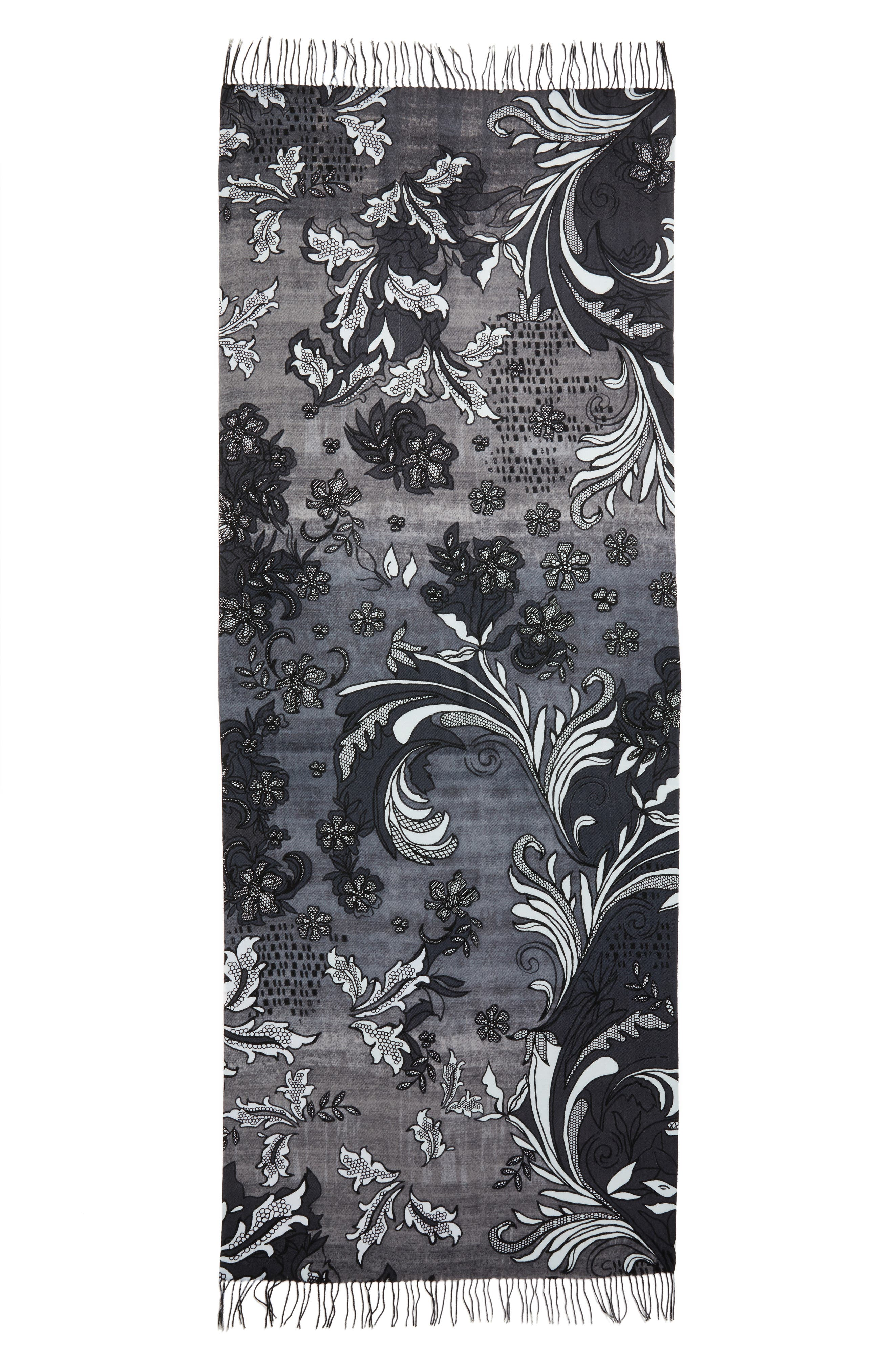 Viennese Floral Tissue Wool & Cashmere Scarf,                             Alternate thumbnail 3, color,                             001