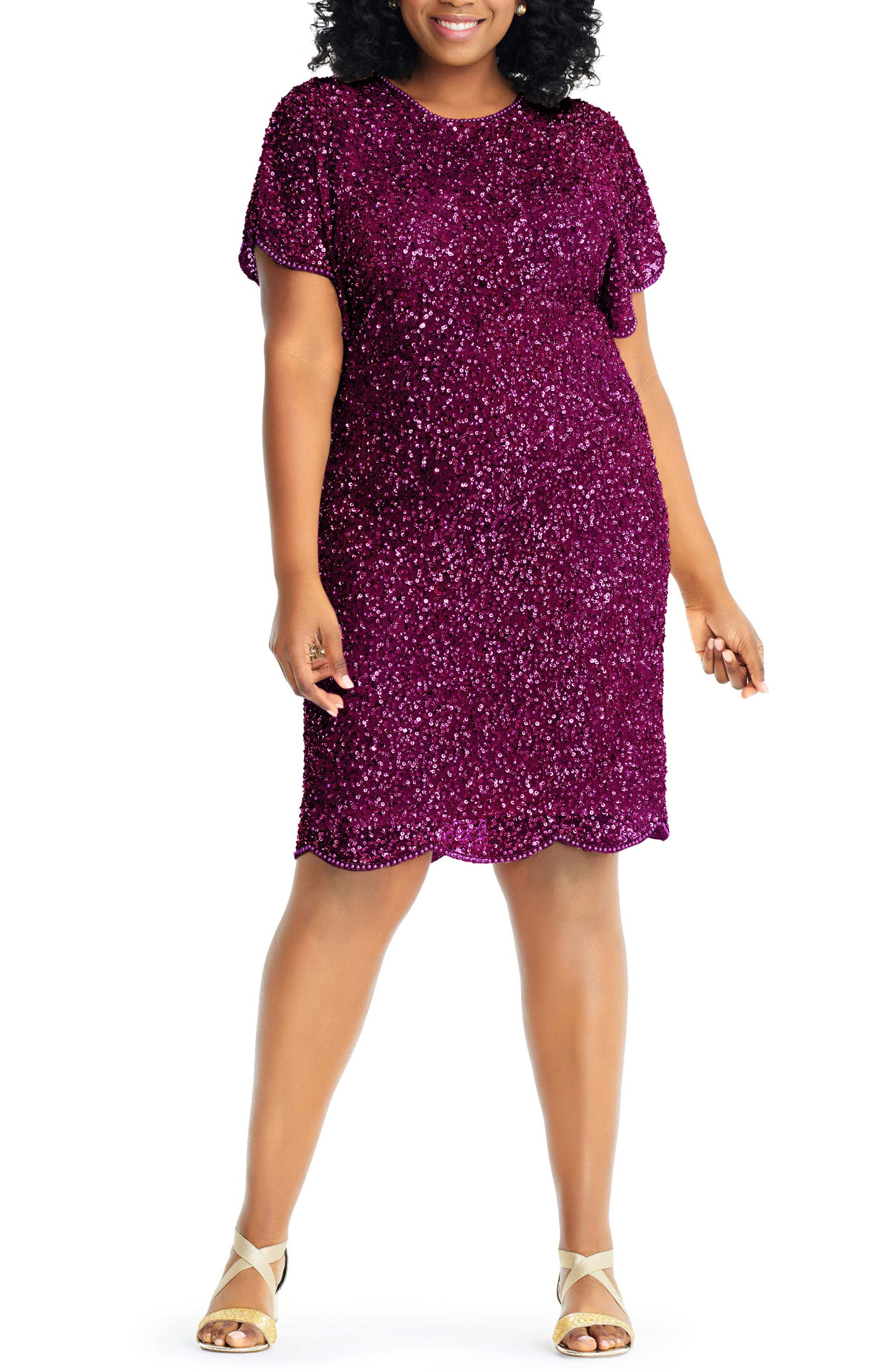 ADRIANNA PAPELL Plus Size Beaded Flutter-Sleeve Dress in Cabernet