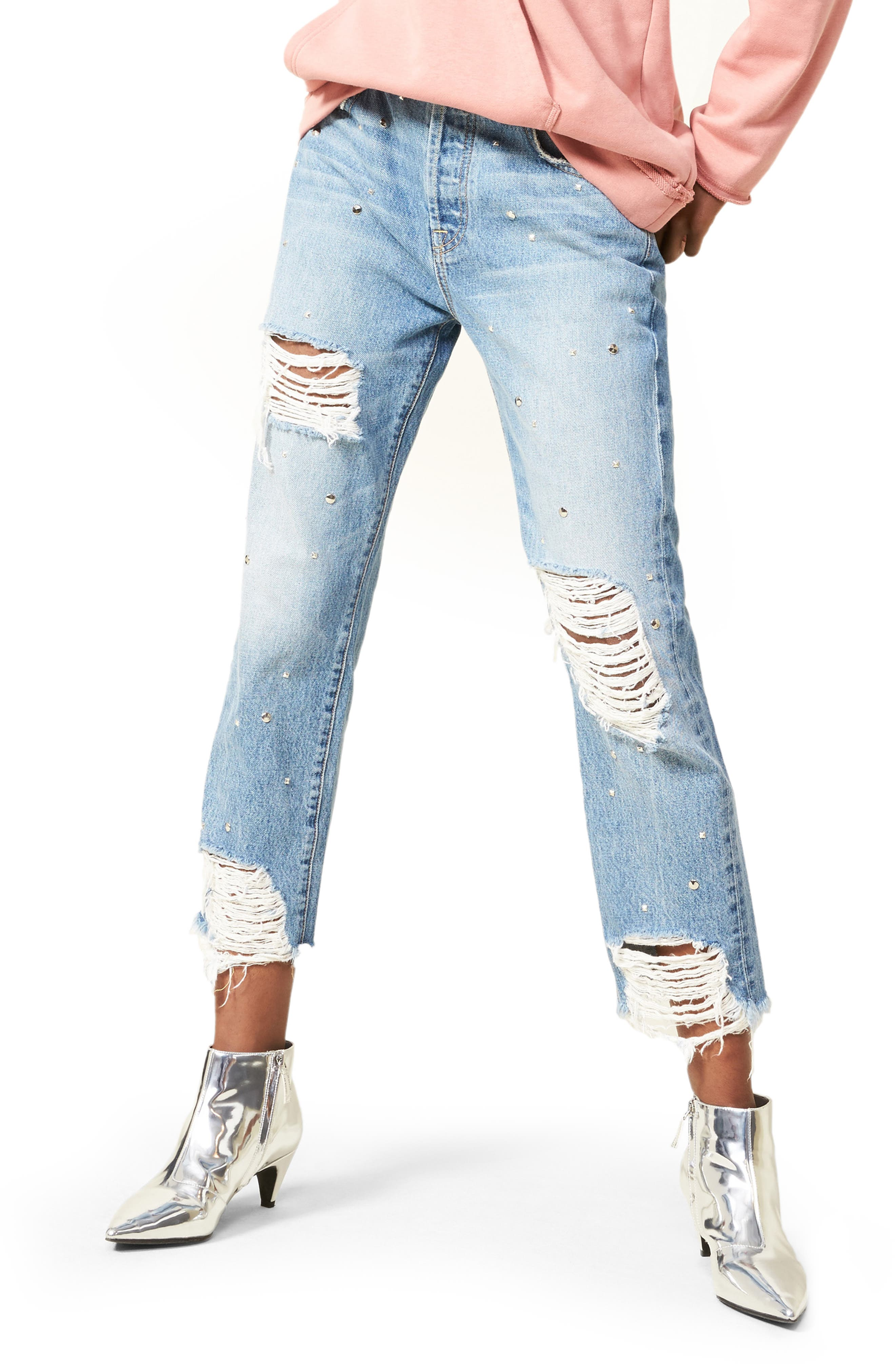 Josefina Studded Destroyed Jeans,                         Main,                         color, 400