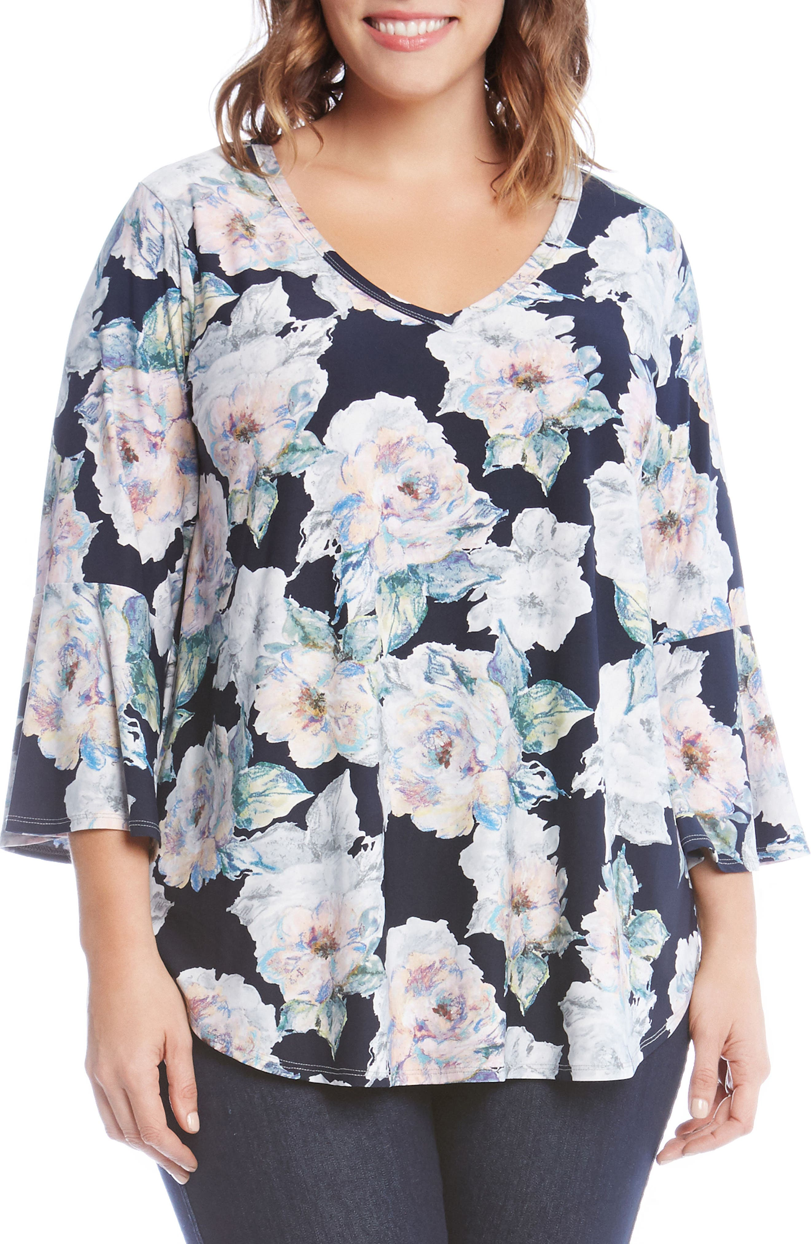 Floral Bell Sleeve Top,                             Main thumbnail 1, color,                             653