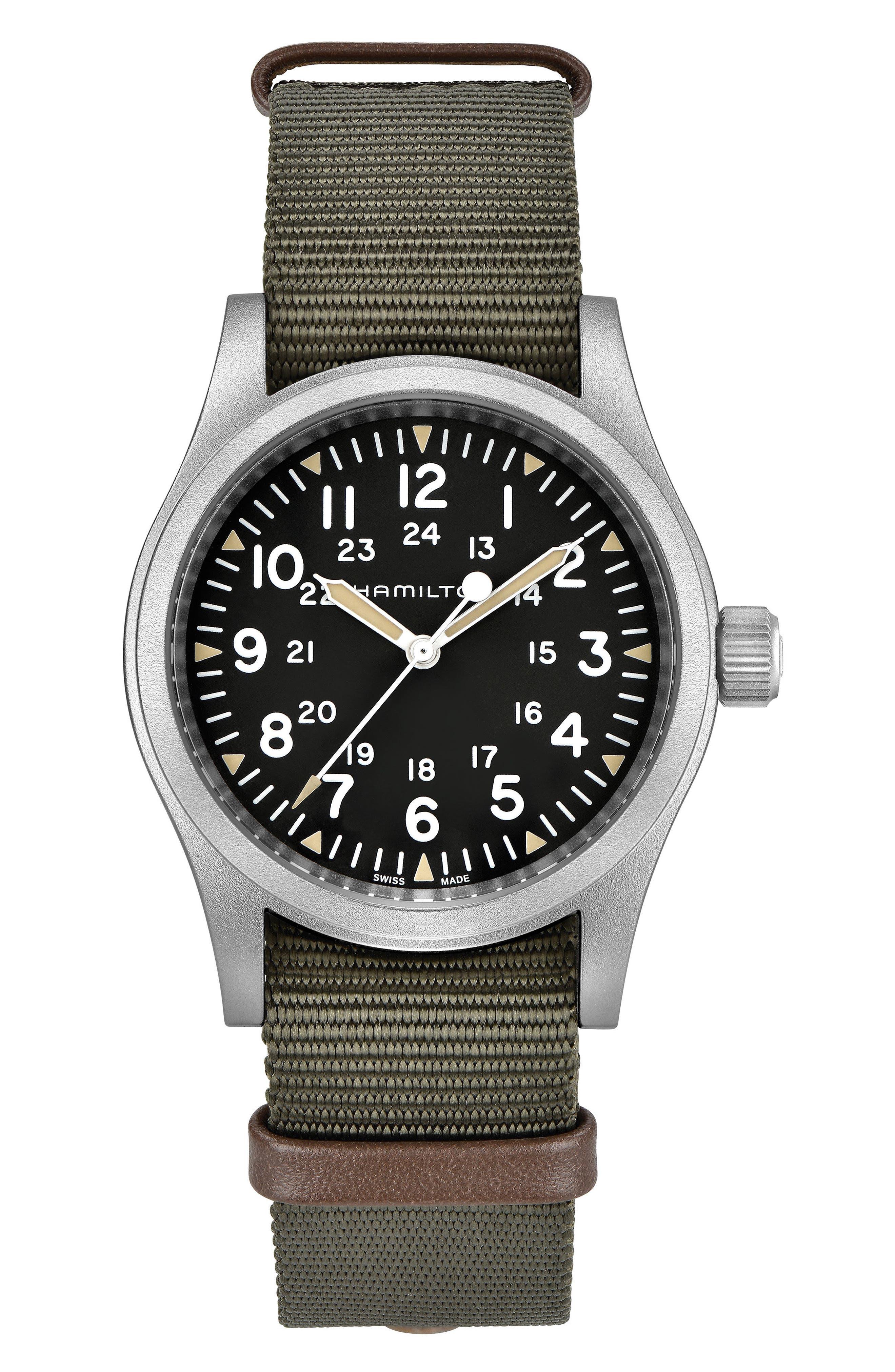 Khaki Field Mechanical NATO Strap Watch, 38mm,                         Main,                         color, GREEN/ BLACK/ SILVER