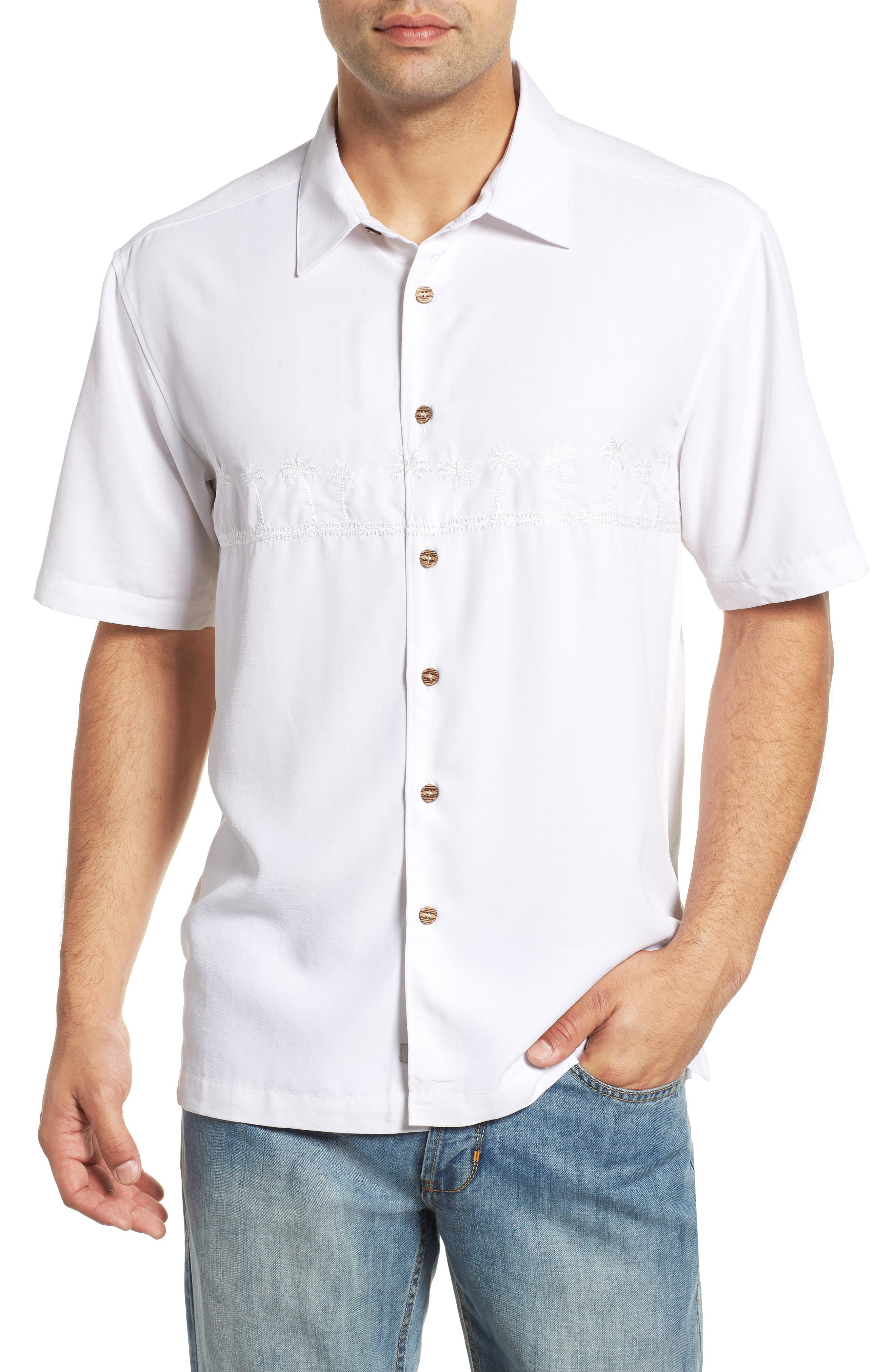 QUIKSILVER WATERMAN COLLECTION Tahiti Palms Regular Fit Sport Shirt, Main, color, WHITE