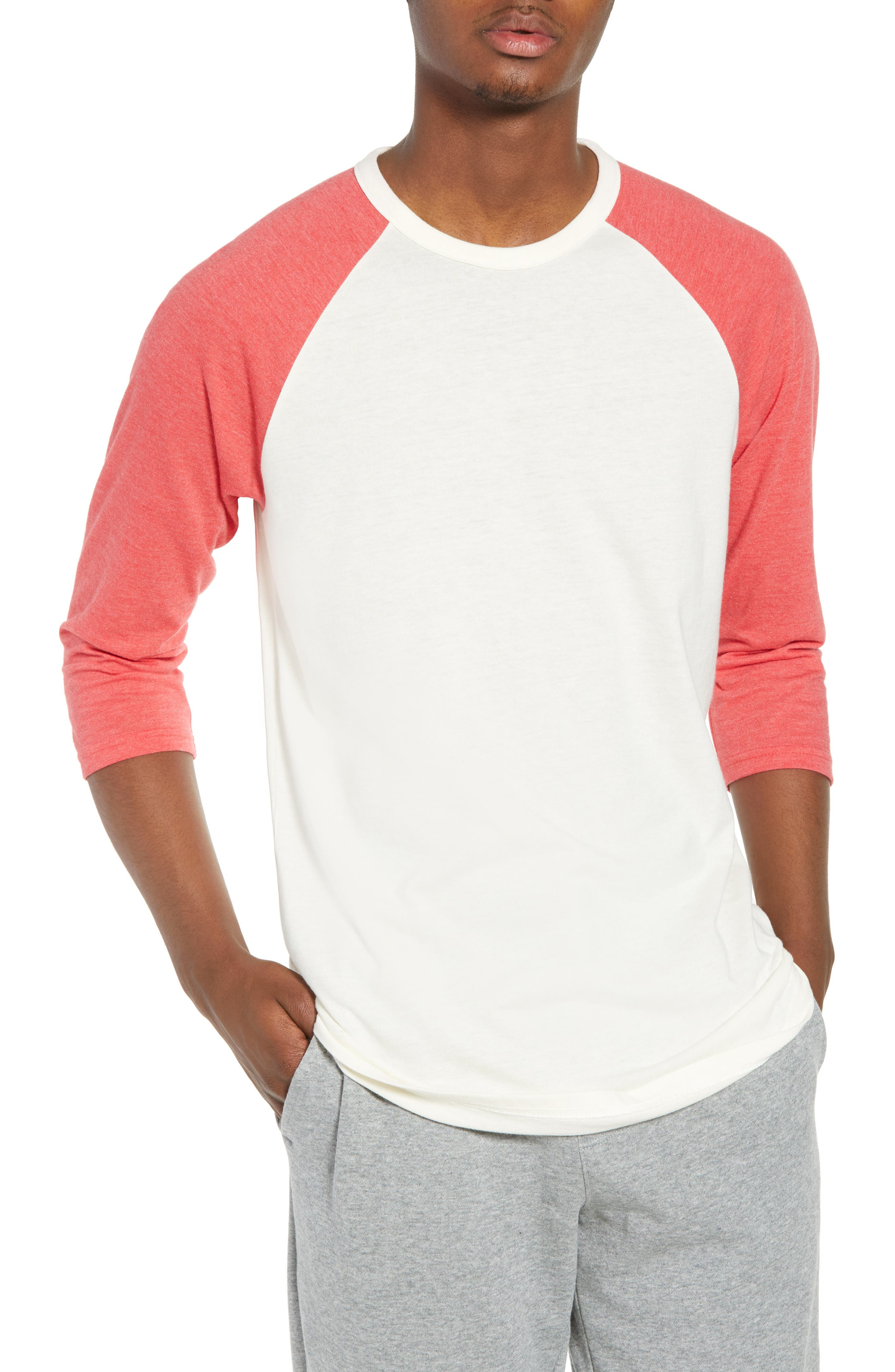Baseball T-Shirt,                         Main,                         color, IVORY EGRET-RED SAUCY