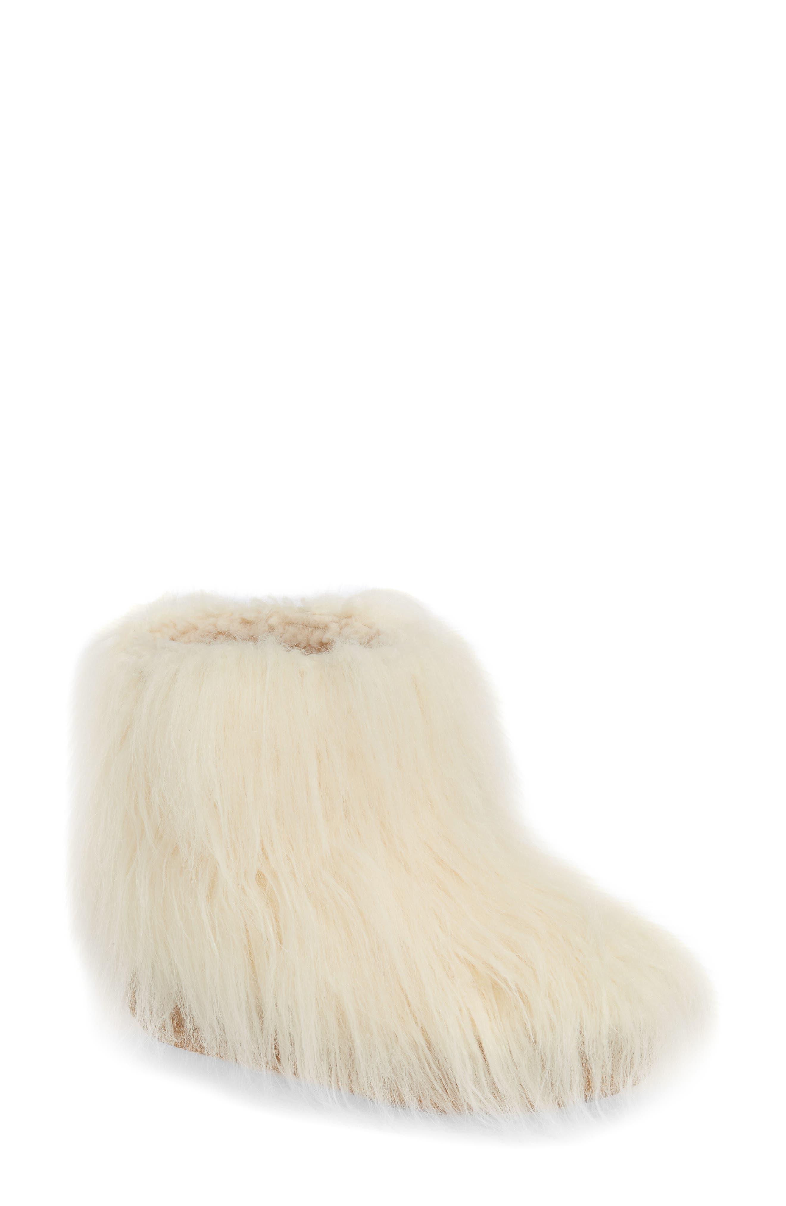 JEFFREY CAMPBELL Fluffy Faux Fur Bootie in White Faux Fur