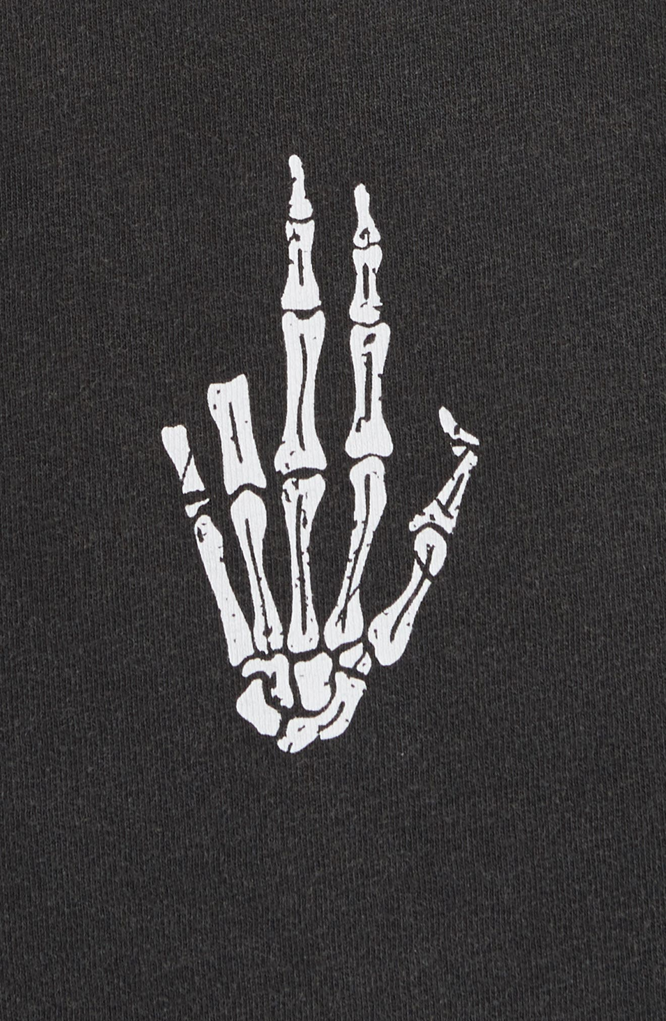 Skeleton Hand Graphic T-Shirt,                             Alternate thumbnail 5, color,                             001