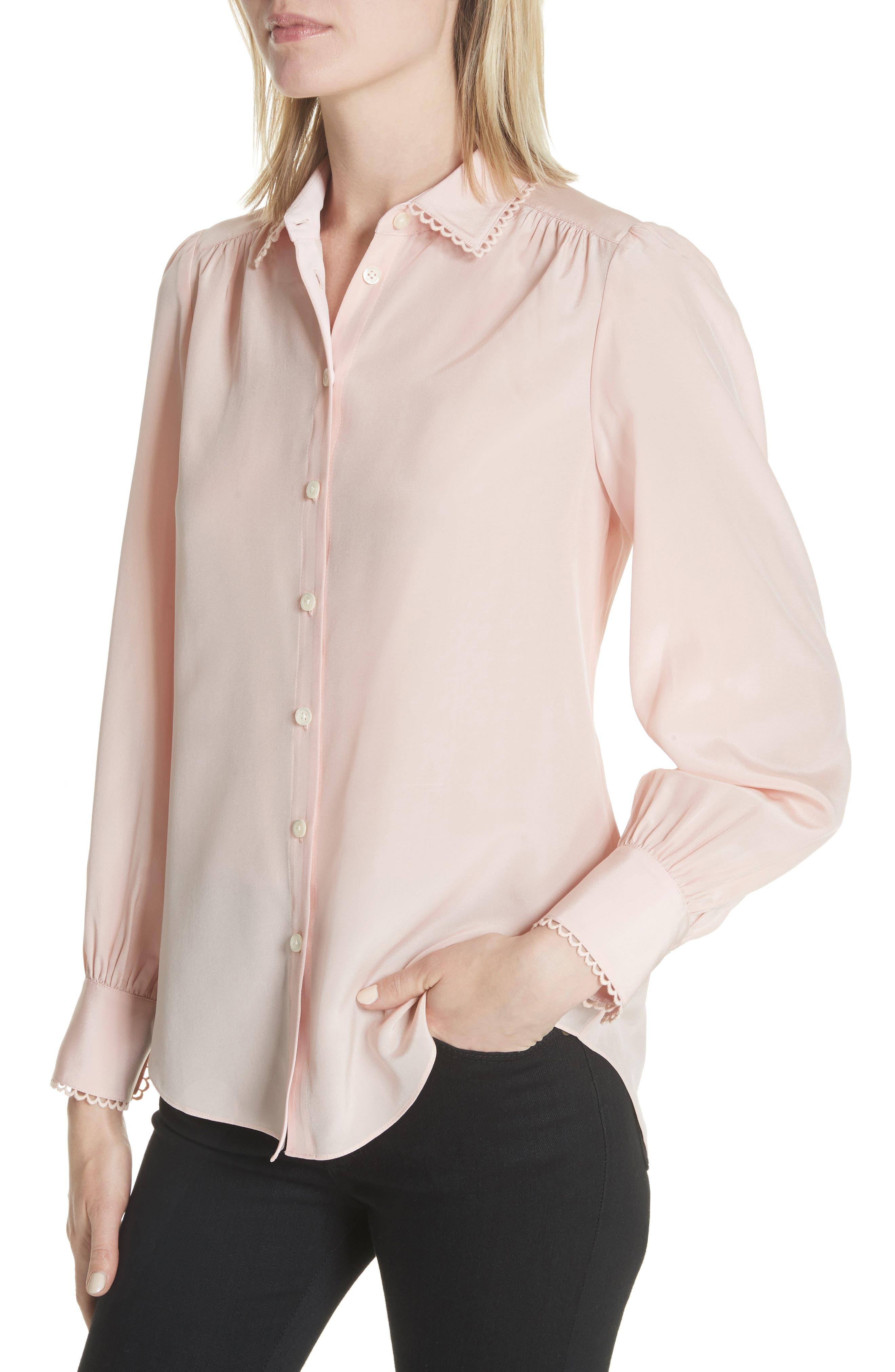 KATE SPADE NEW YORK,                             scallop trim silk shirt,                             Alternate thumbnail 4, color,                             663