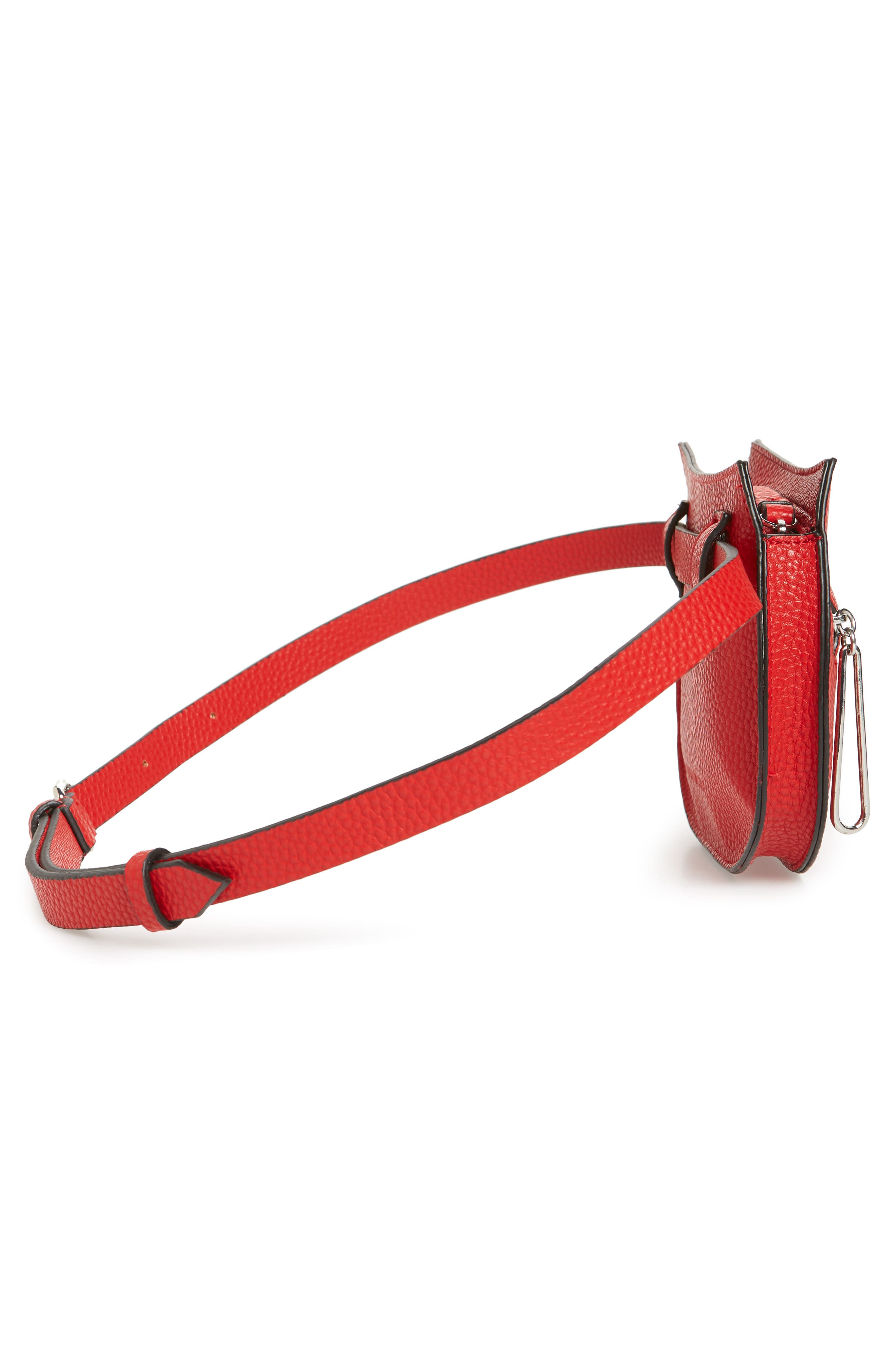 Trish Faux Leather Belt Bag,                             Alternate thumbnail 6, color,                             RED