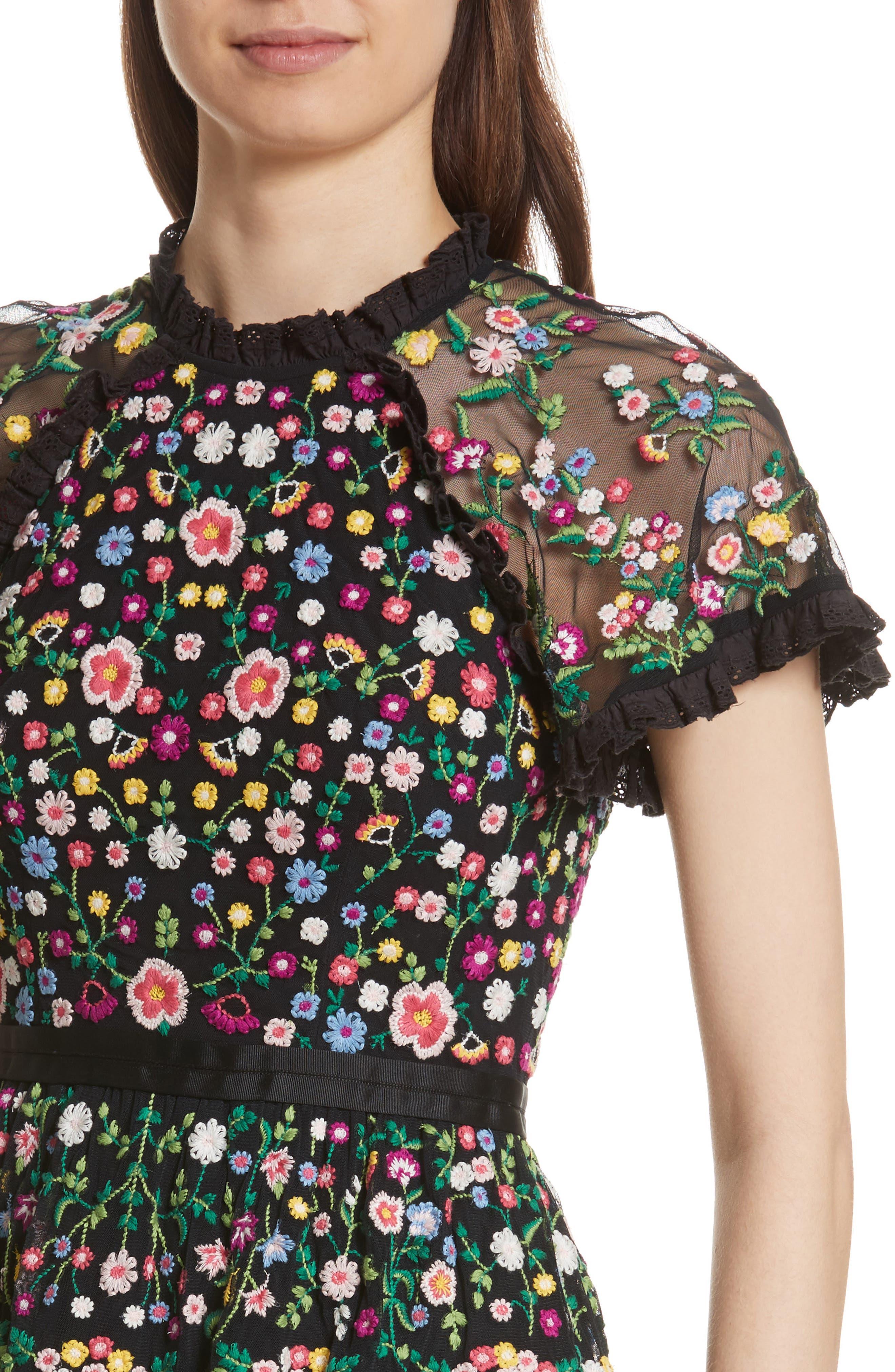 Lazy Daisy Fit & Flare Dress,                             Alternate thumbnail 4, color,                             001