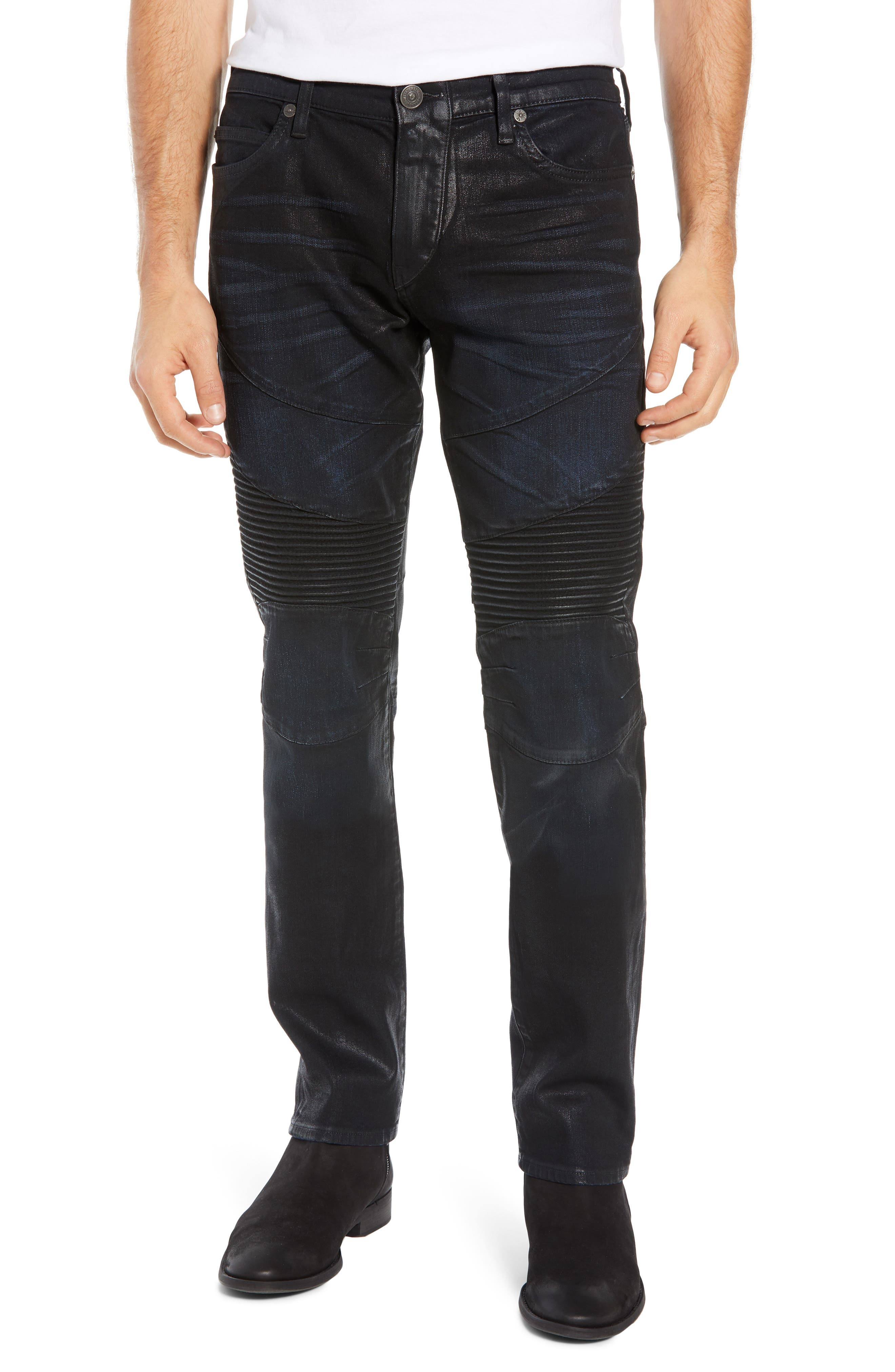 Rocco Skinny Fit Moto Jeans, Main, color, FLGD BOOST BLUE