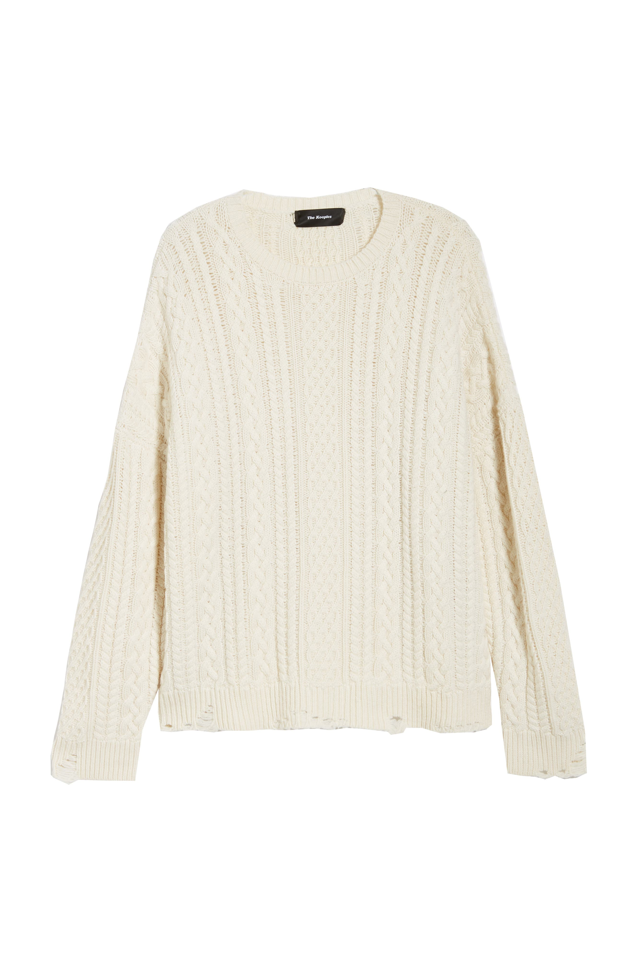 Oversize Distressed Wool Blend Sweater,                             Alternate thumbnail 6, color,                             BEIGE/ WHITE