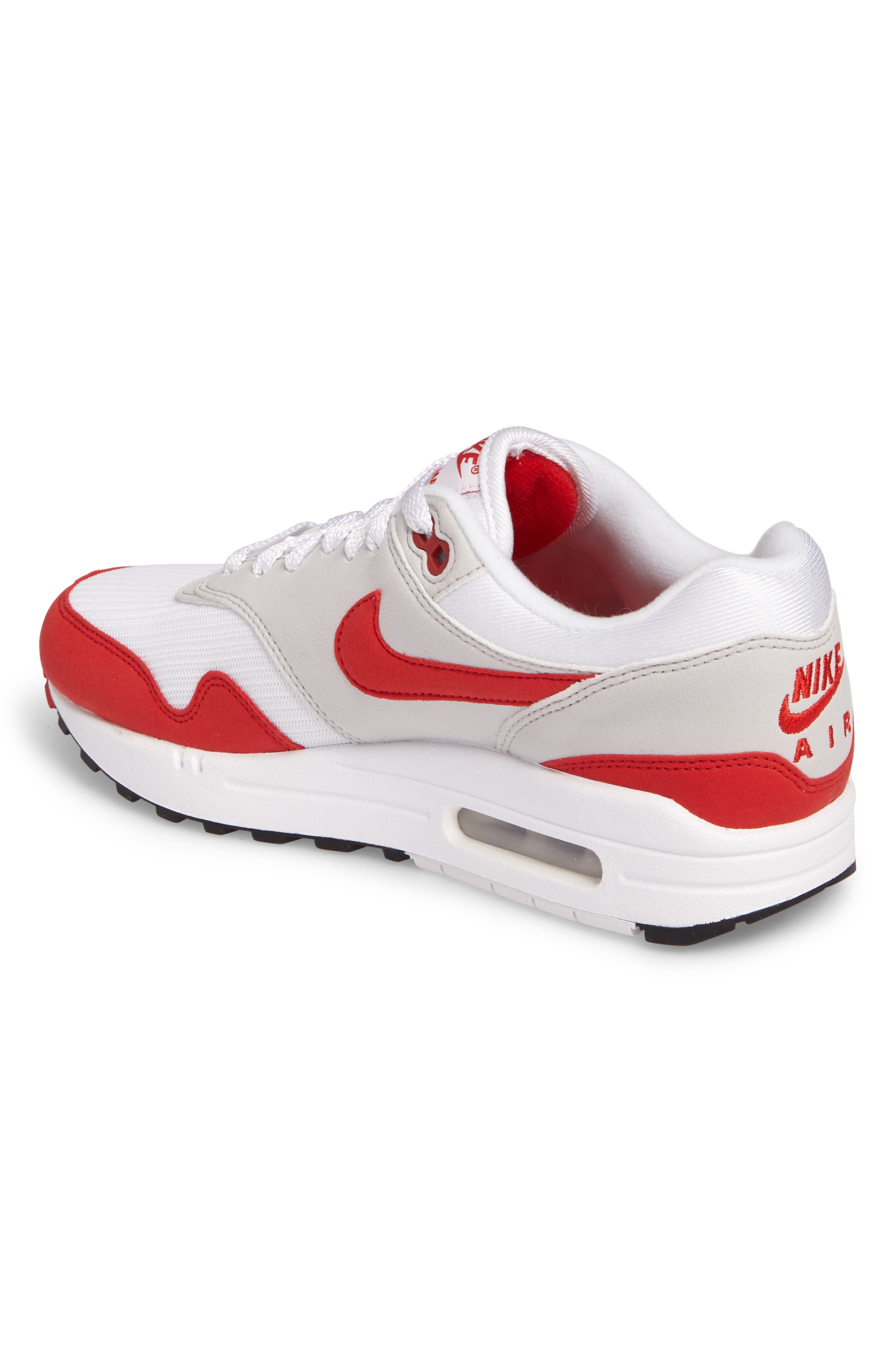 Air Max 1 Anniversary Sneaker,                             Alternate thumbnail 2, color,                             WHITE/ RED/ GREY/ BLACK