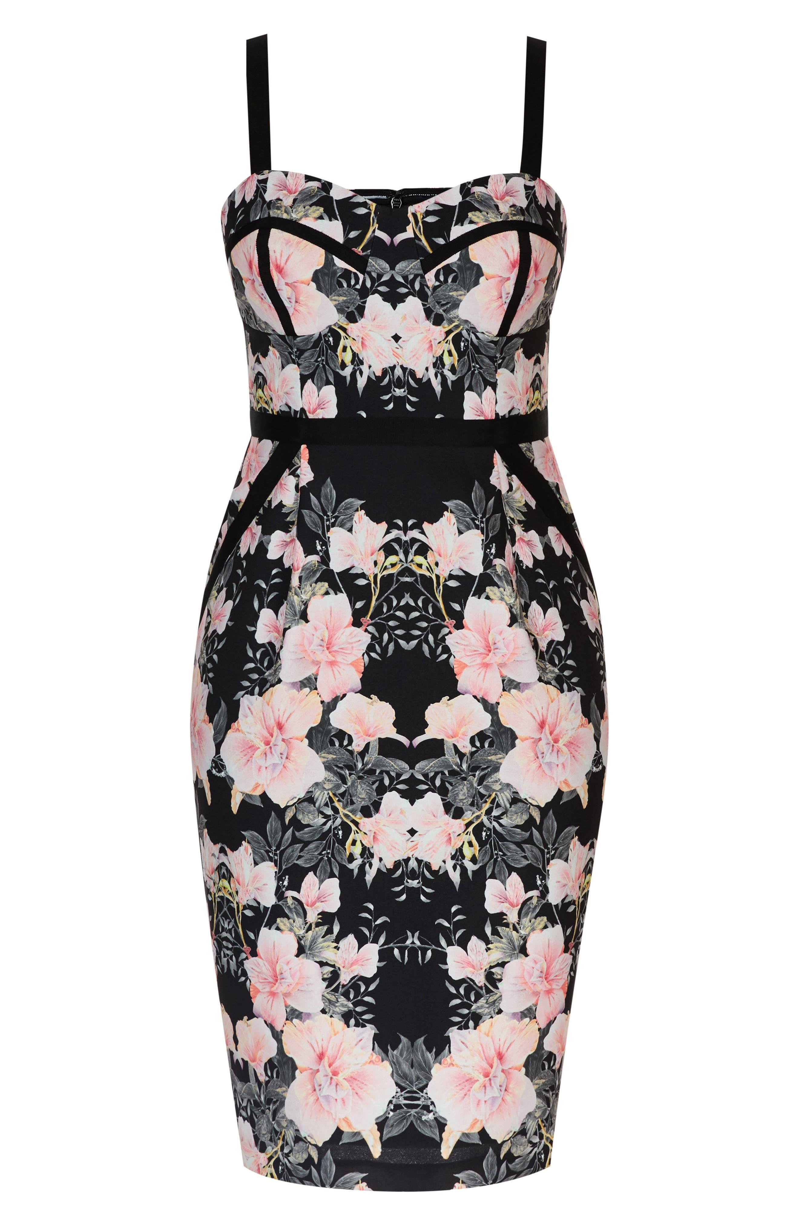 Impressions Floral Body-Con Dress,                             Alternate thumbnail 3, color,                             BLACK