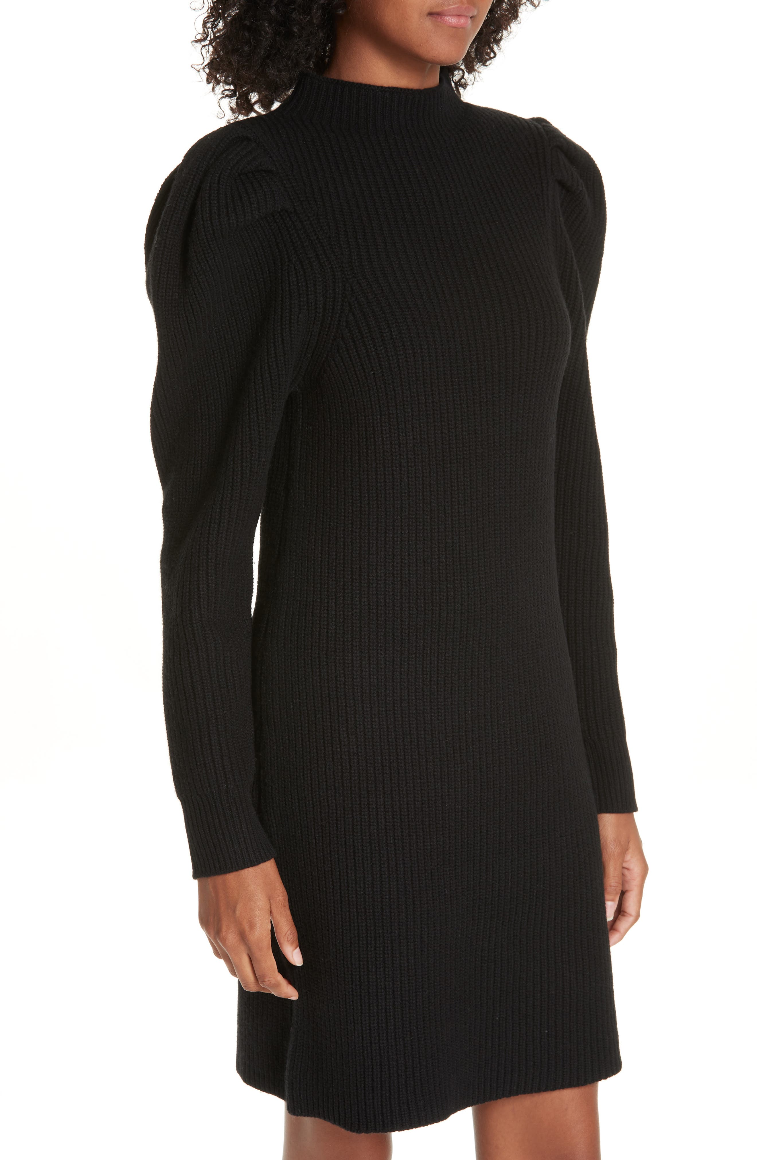 Ribbed Sweater Dress,                             Alternate thumbnail 4, color,                             001
