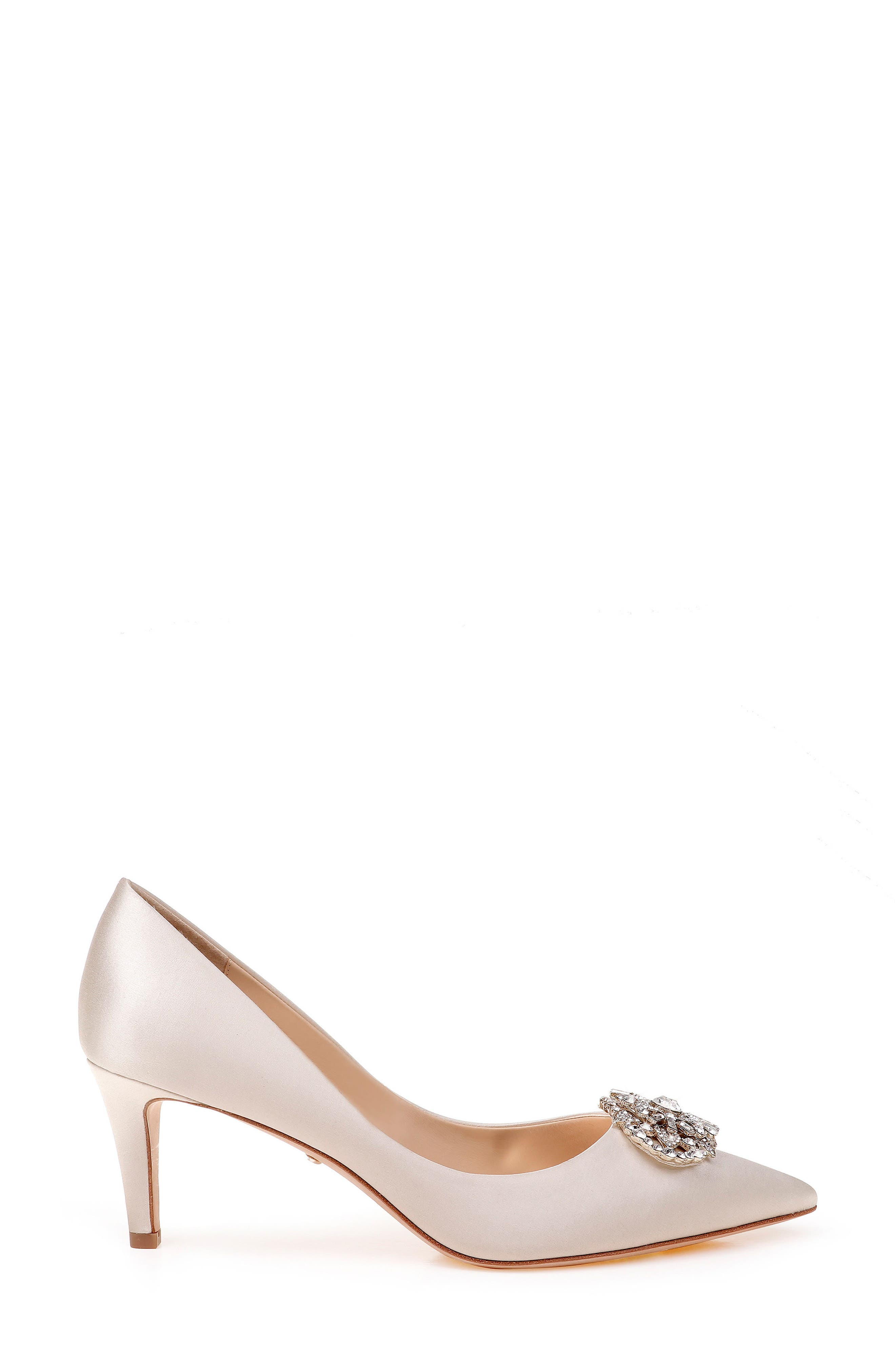 Sunshine Embellished Pump,                             Alternate thumbnail 3, color,                             IVORY SATIN