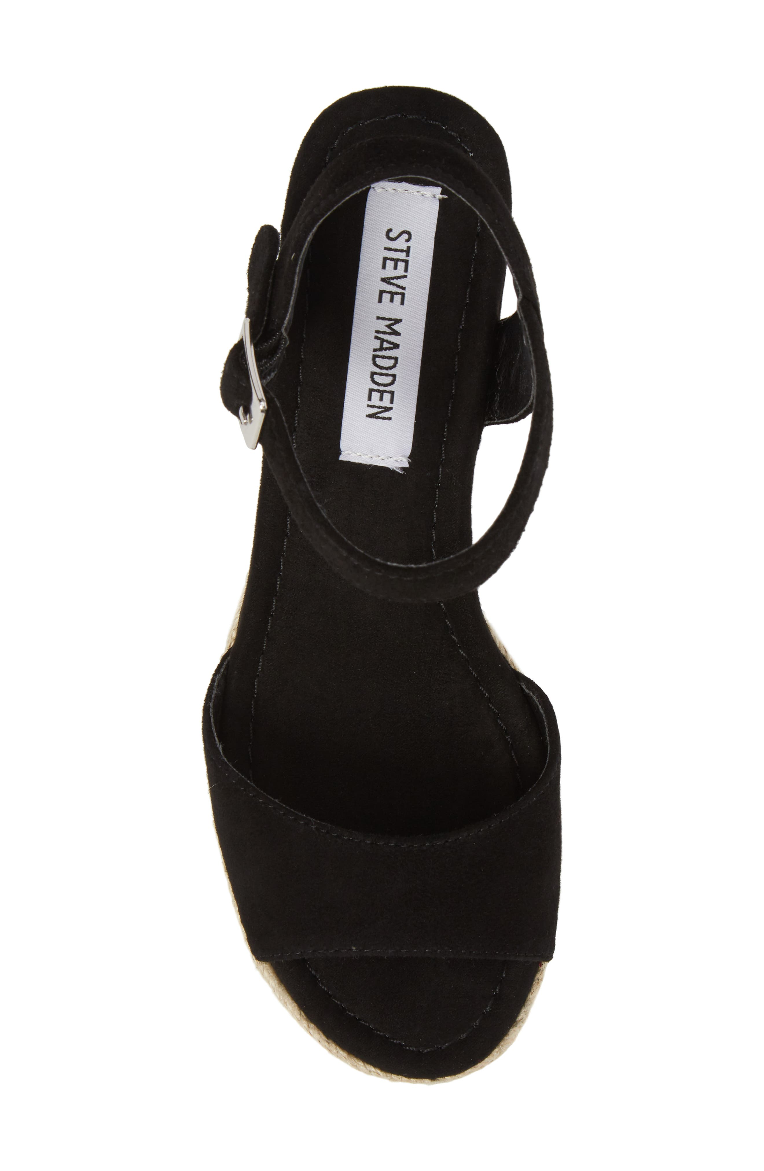 Kianna Espadrille Wedge Sandal,                             Alternate thumbnail 5, color,                             BLACK SUEDE