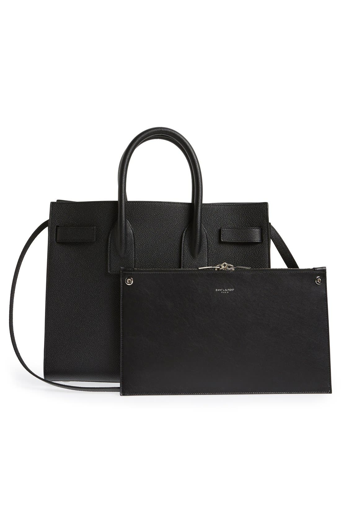 'Small Sac de Jour' Leather Tote,                             Alternate thumbnail 5, color,                             NOIR