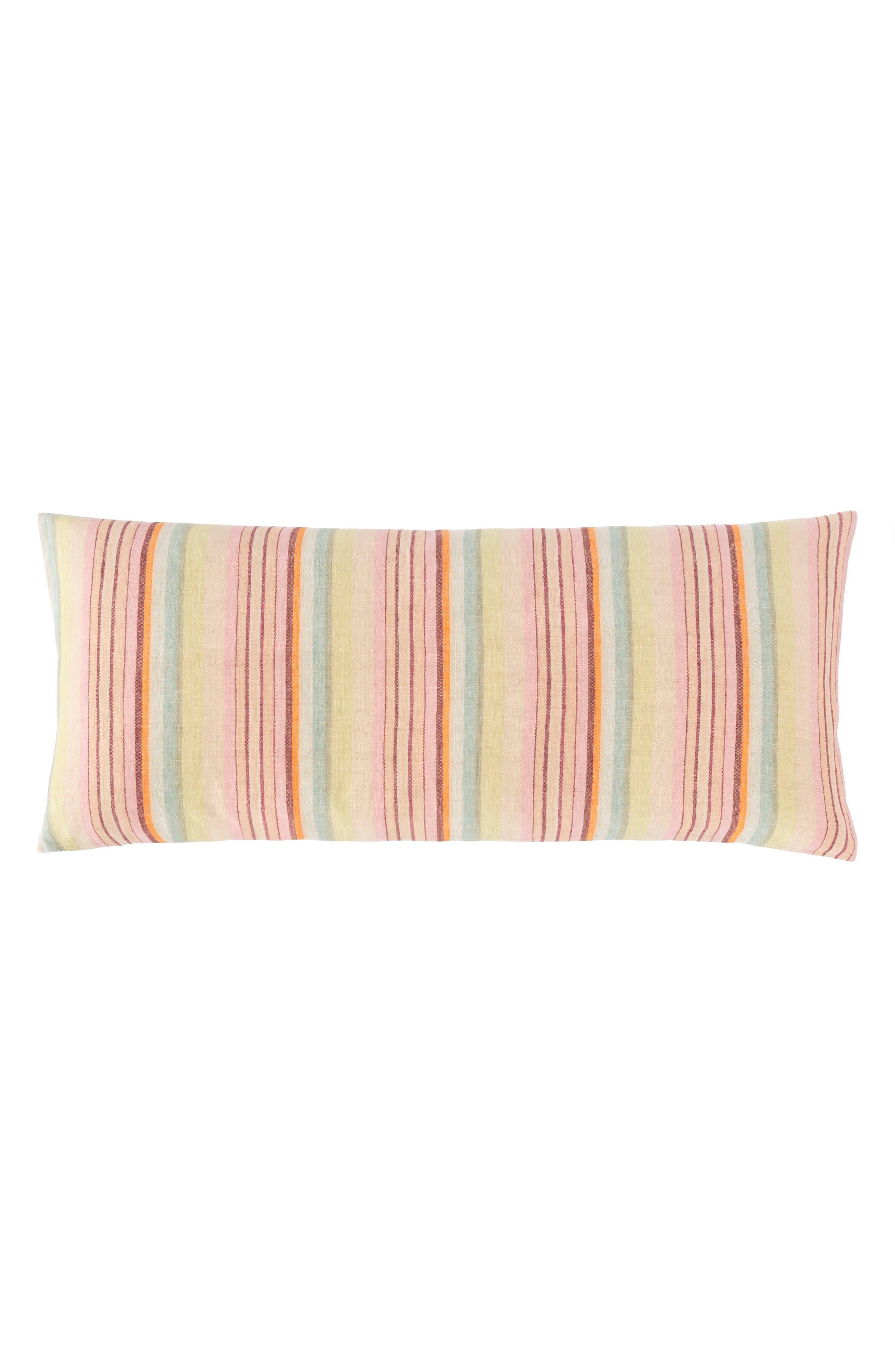 Savona Stripe Linen Accent Pillow,                             Main thumbnail 1, color,                             650