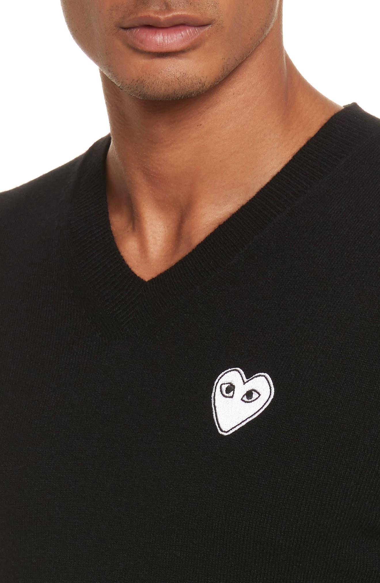 White Heart Wool V-Neck Sweater,                             Alternate thumbnail 4, color,                             BLACK