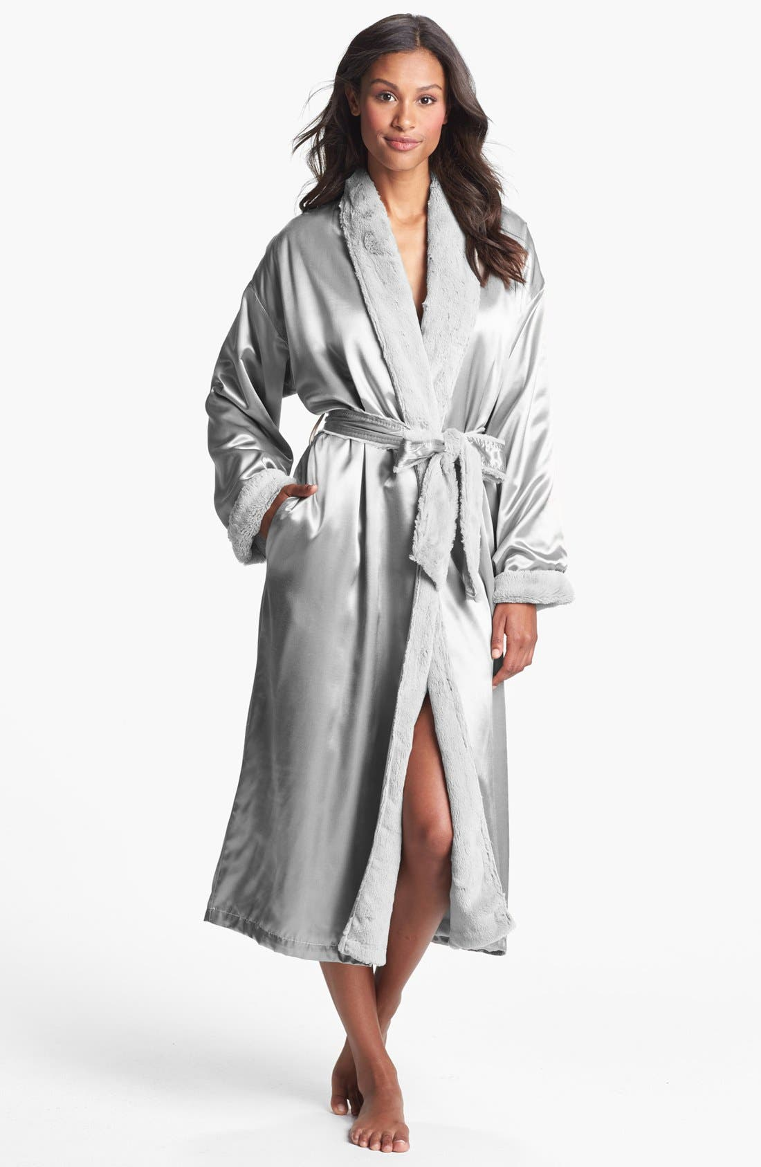 Faux Fur & Satin Robe,                         Main,                         color, SILVER