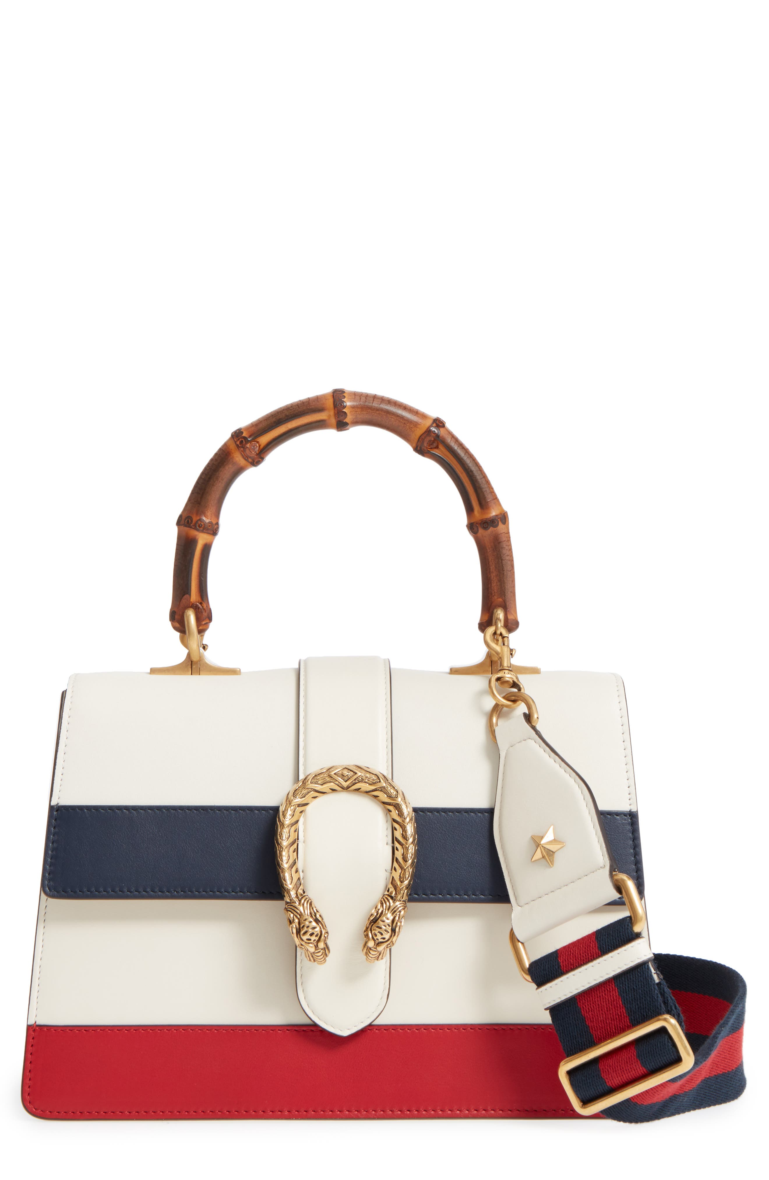 Small Dionysus Top Handle Leather Shoulder Bag,                         Main,                         color, MYSTIC WHITE/ BLUE/ RED